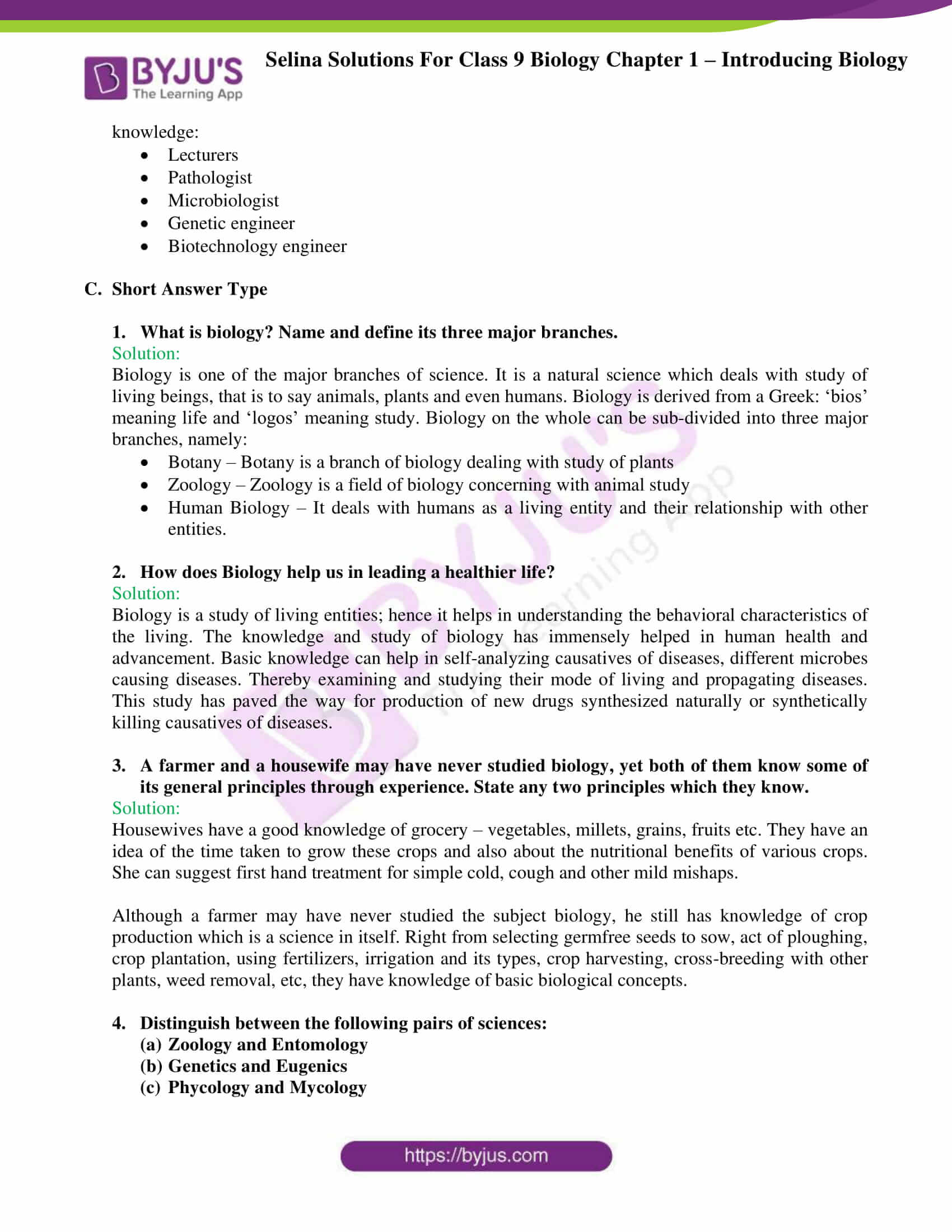 Selina Solutions For Class 9 Biology Chapter 1 Introducing Biology part 4