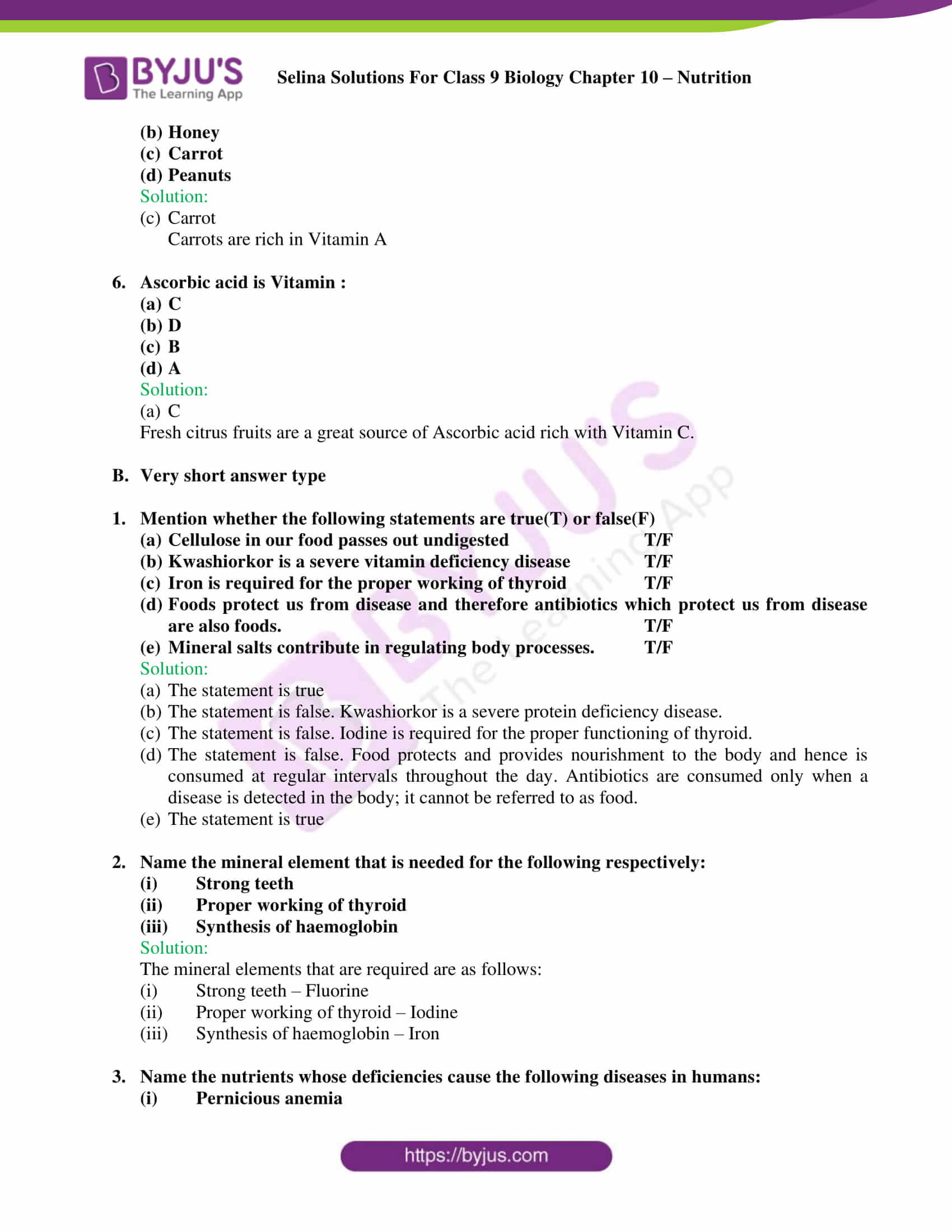 selina Solutions For Class 9 Biology Chapter 10 part 3