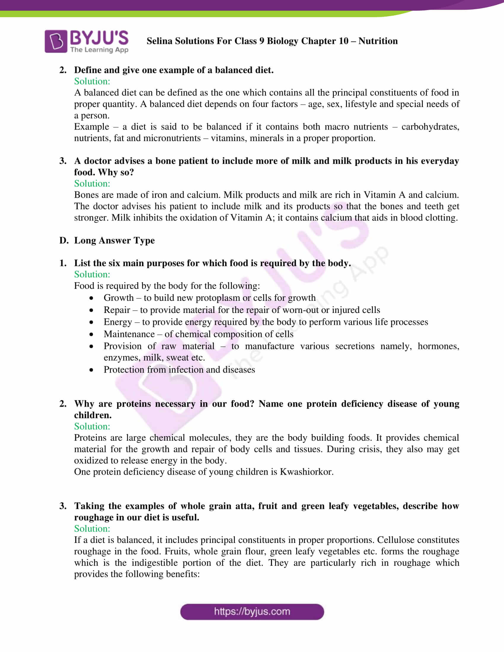 selina Solutions For Class 9 Biology Chapter 10 part 5
