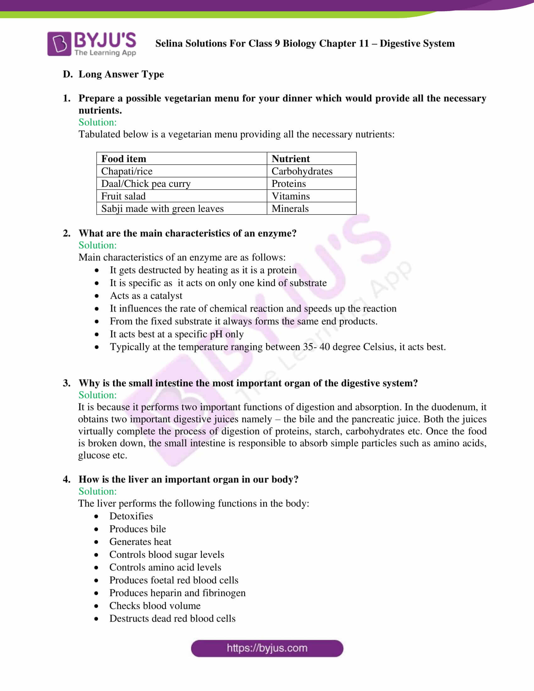 Selina Concise Biology Class 9 Chapter 11 Solutions – Digestive System