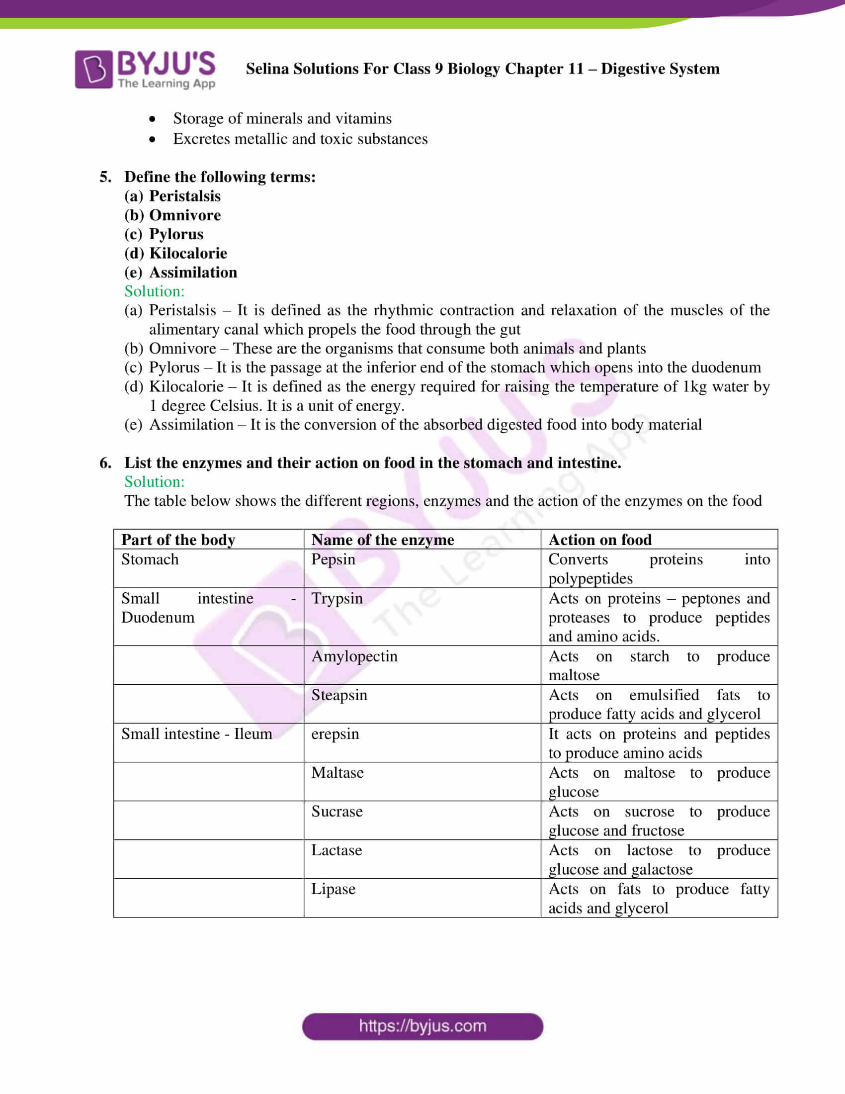 selina Solutions For Class 9 Biology Chapter 11 part 10