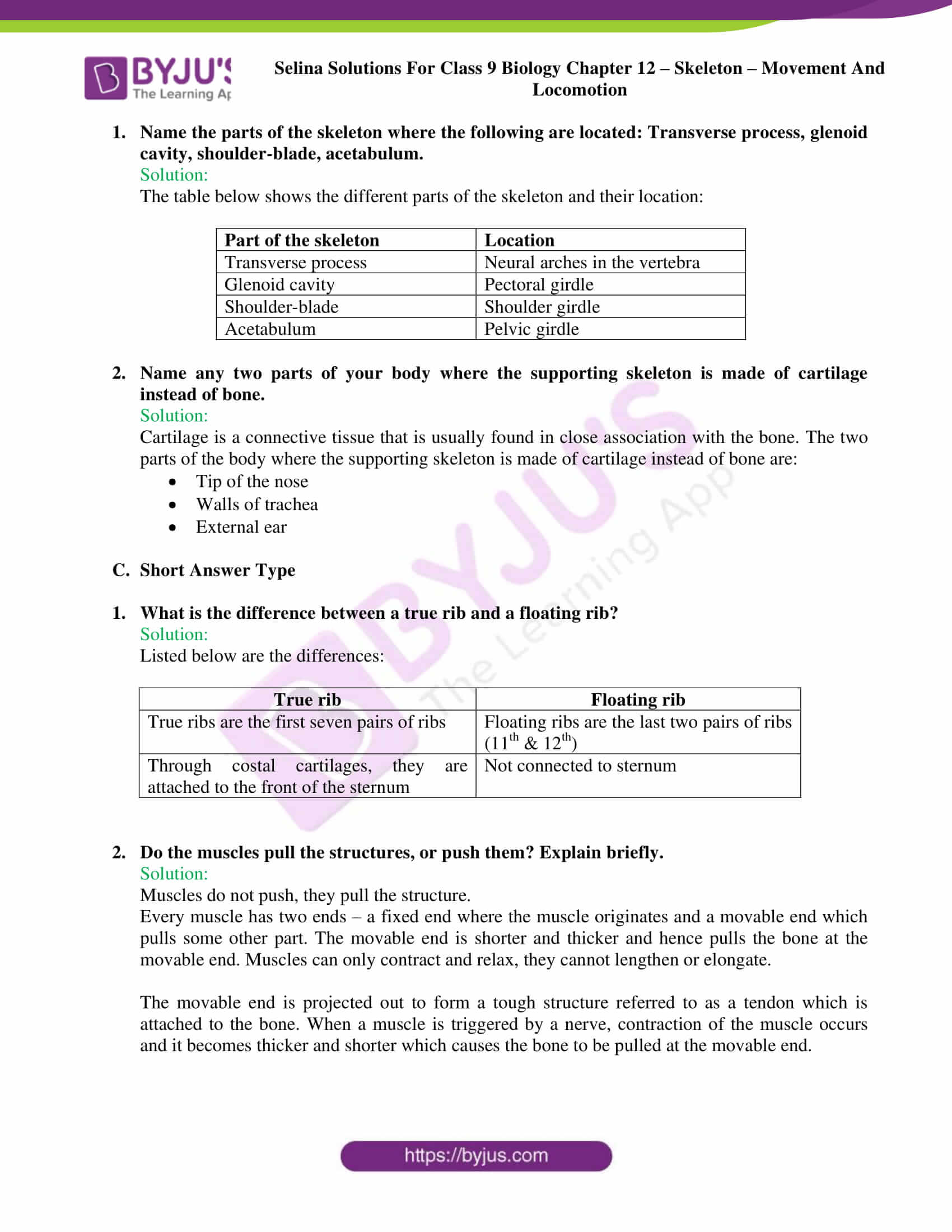 selina Solutions For Class 9 Biology Chapter 12 part 5