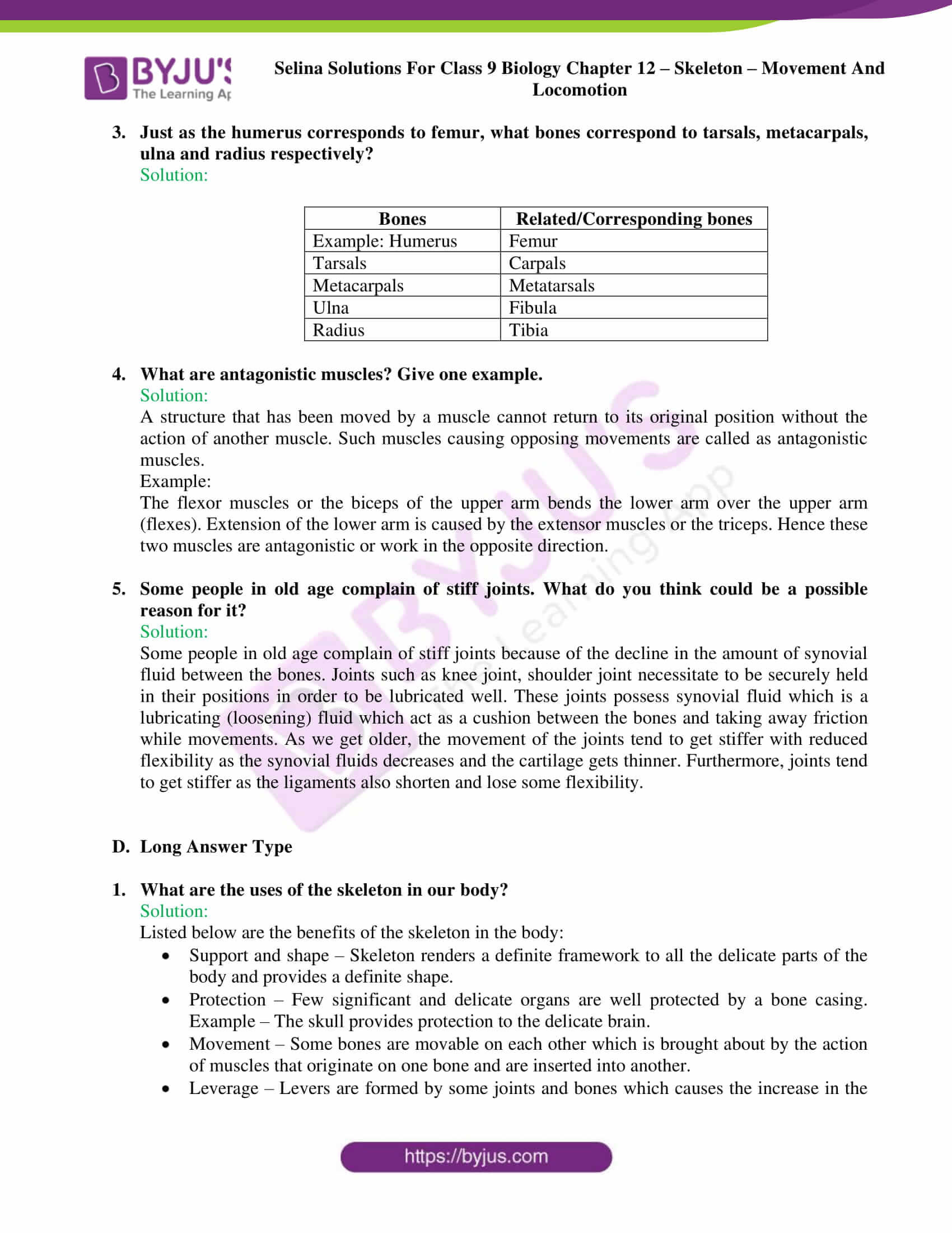 selina Solutions For Class 9 Biology Chapter 12 part 6