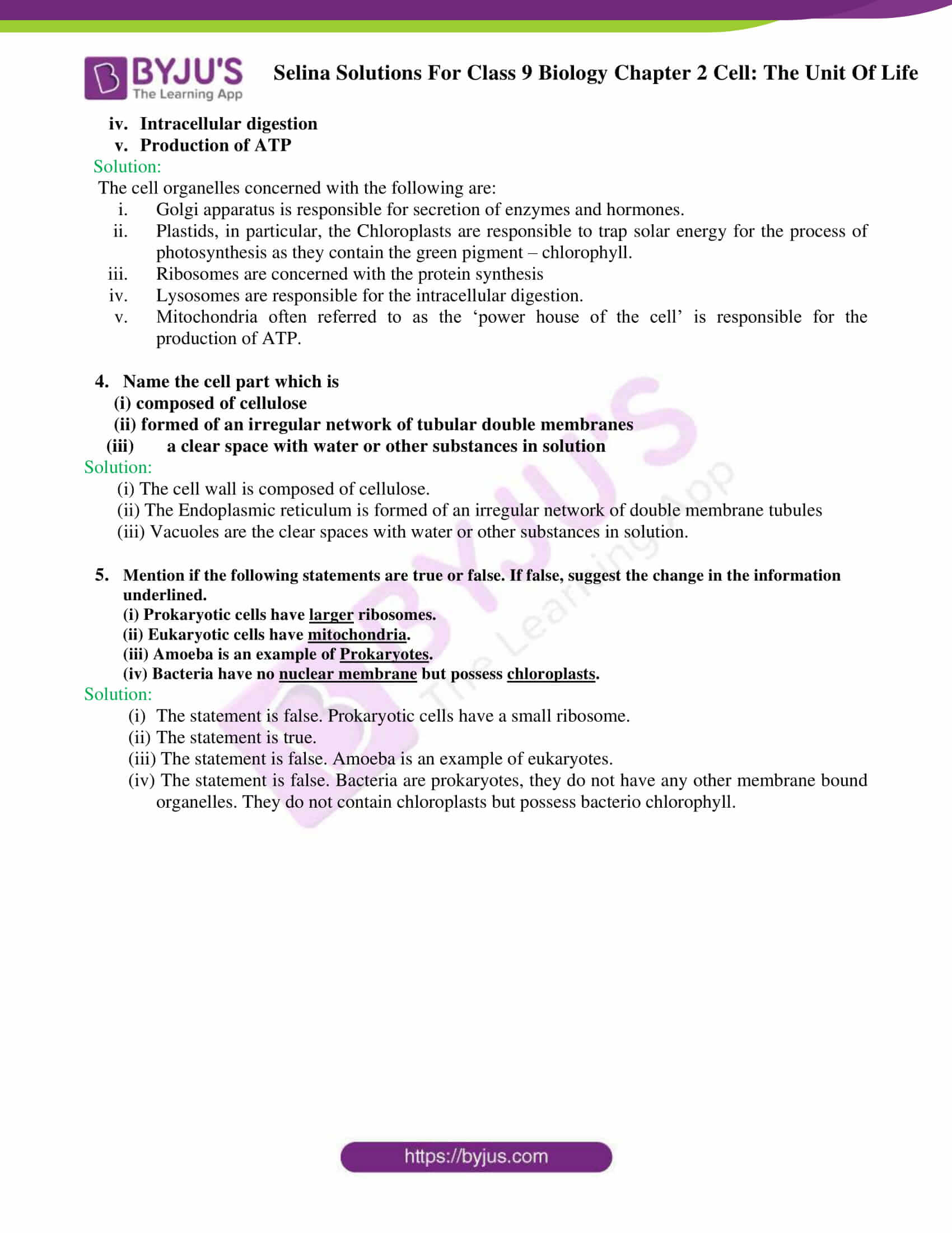 Selina Solutions For Class 9 Biology Chapter 2 Cell The Unit Of Life part 04