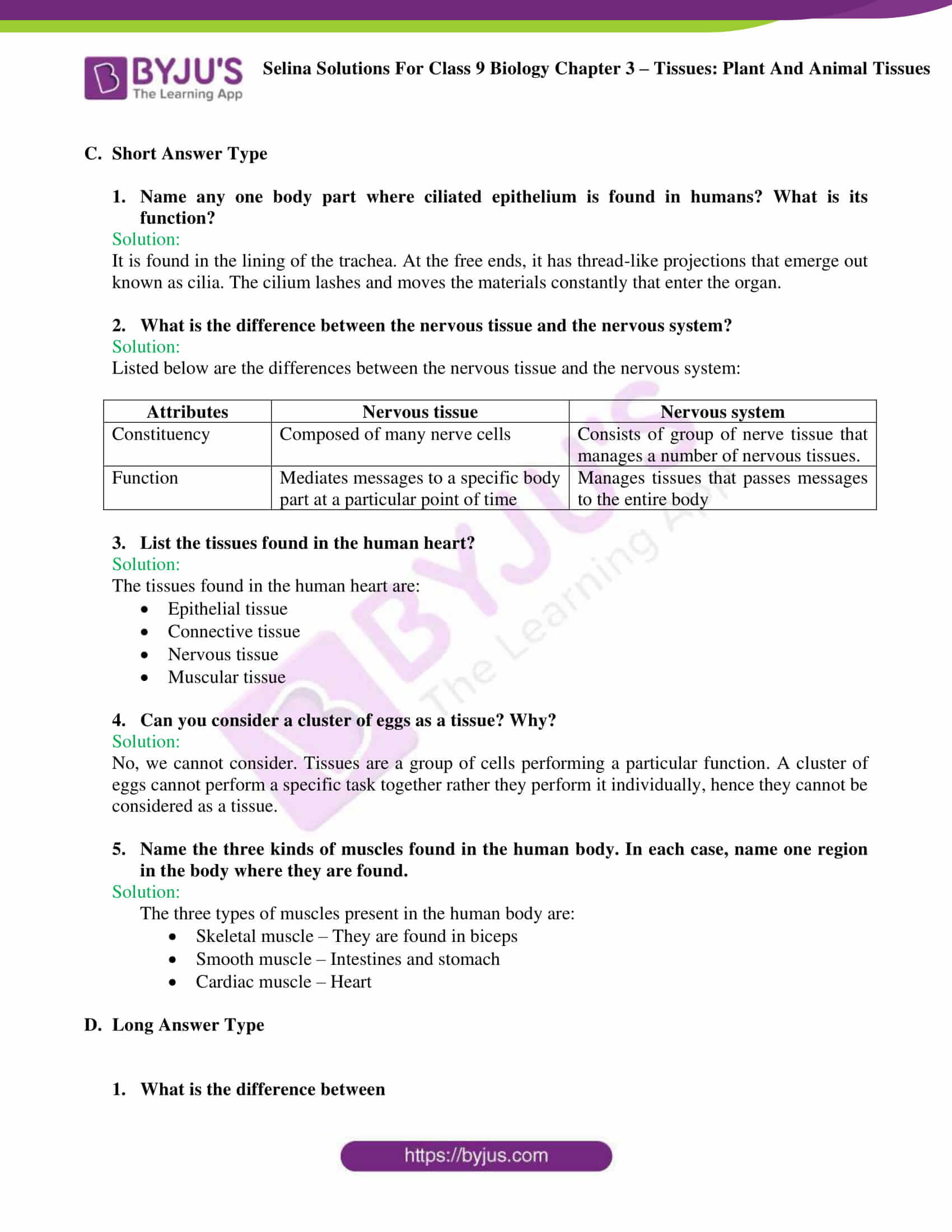 Selina Solutions For Class 9 Biology Chapter 3 Tissues Plant And Animal Tissues part 07