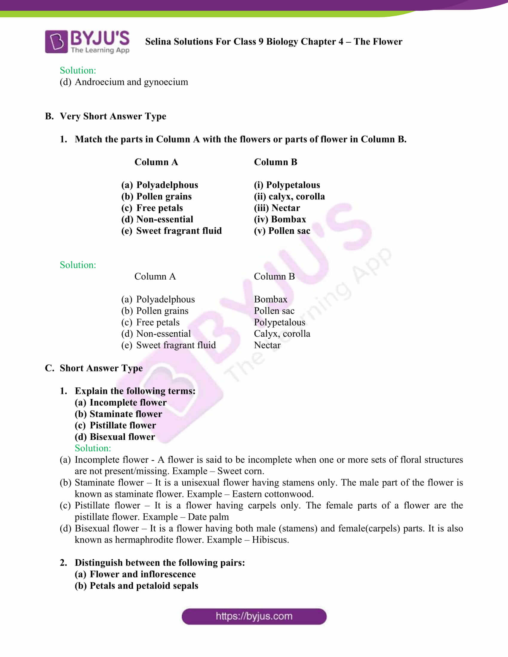 Selina Solutions For Class 9 Biology Chapter 4 The Flower part 3