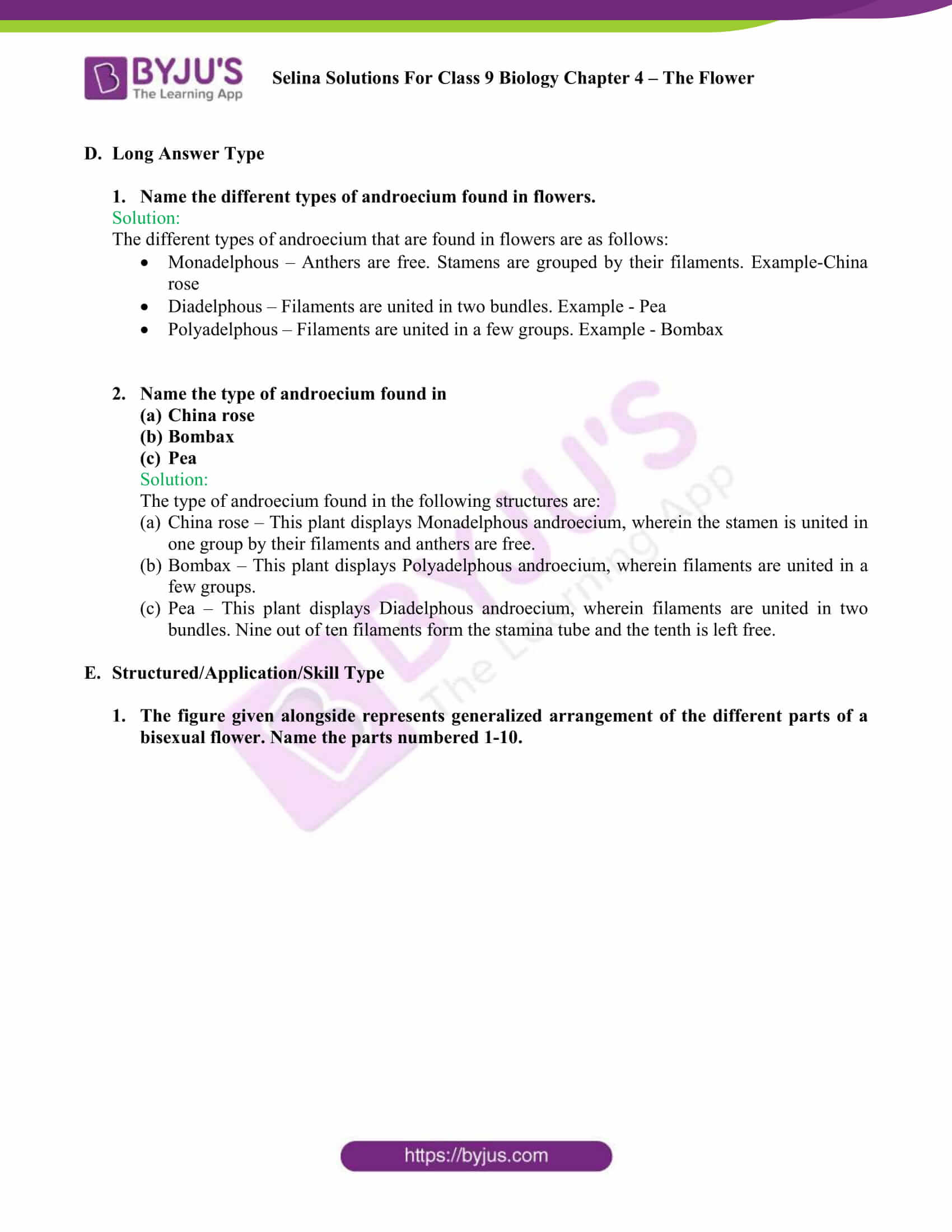 Selina Solutions For Class 9 Biology Chapter 4 The Flower part 5