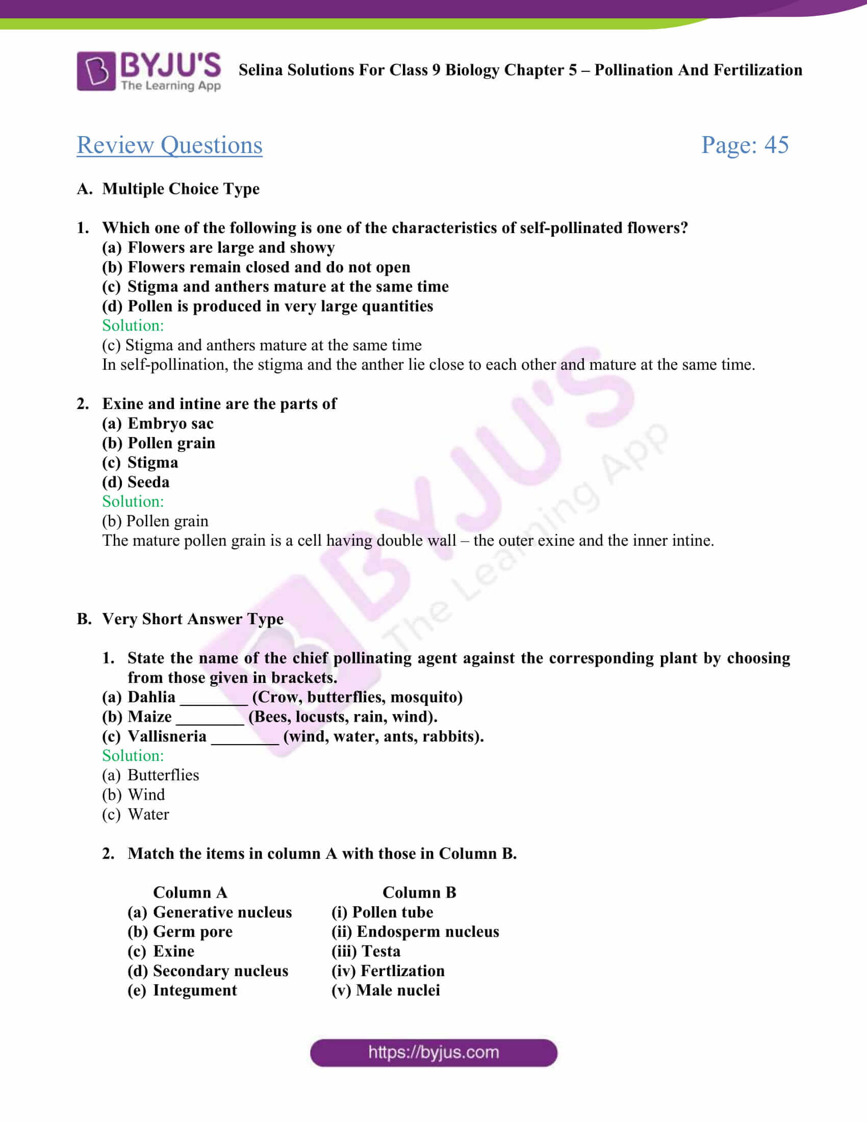 Selina Solutions For Class 9 Biology Chapter 5 Pollination And Fertilization part 03