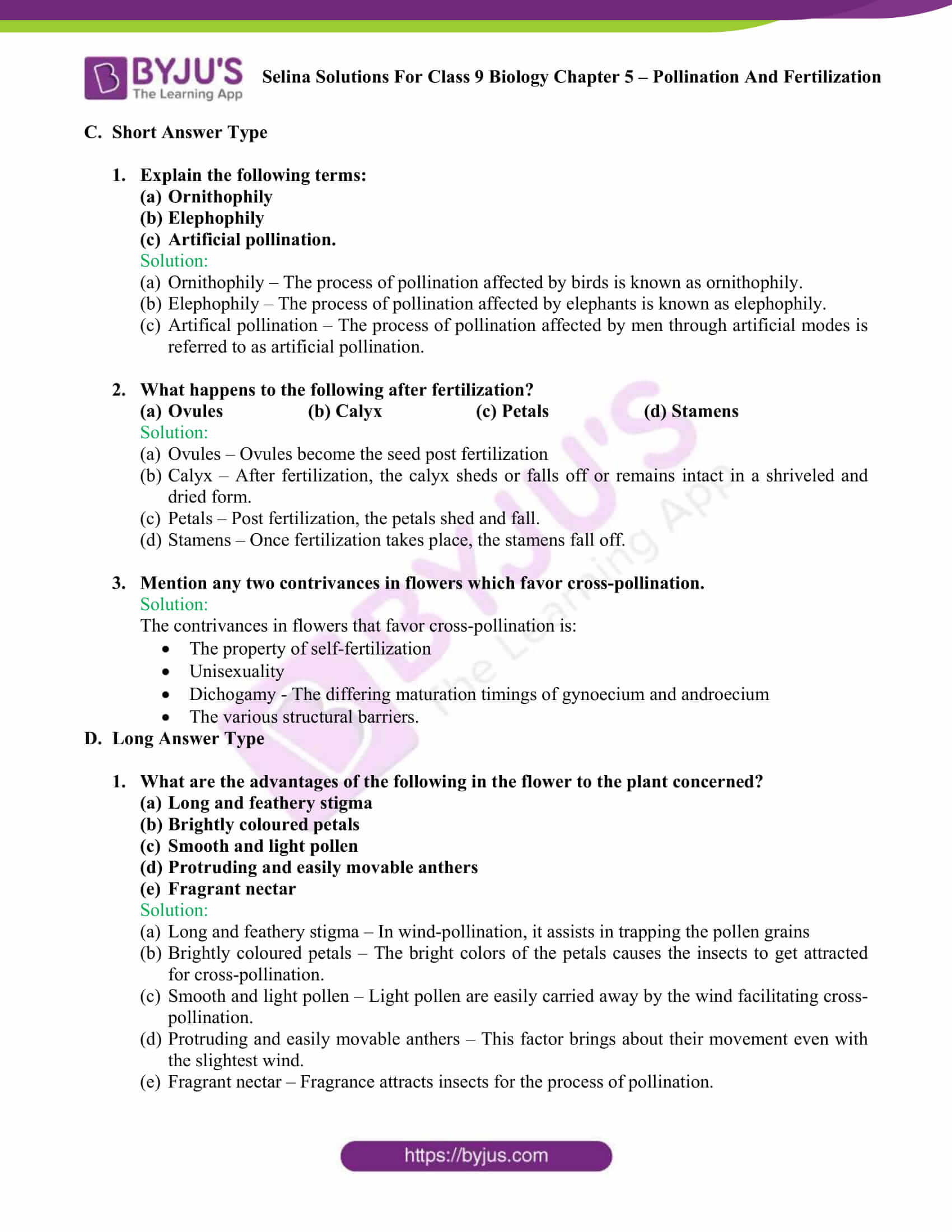 Selina Solutions For Class 9 Biology Chapter 5 Pollination And Fertilization part 05