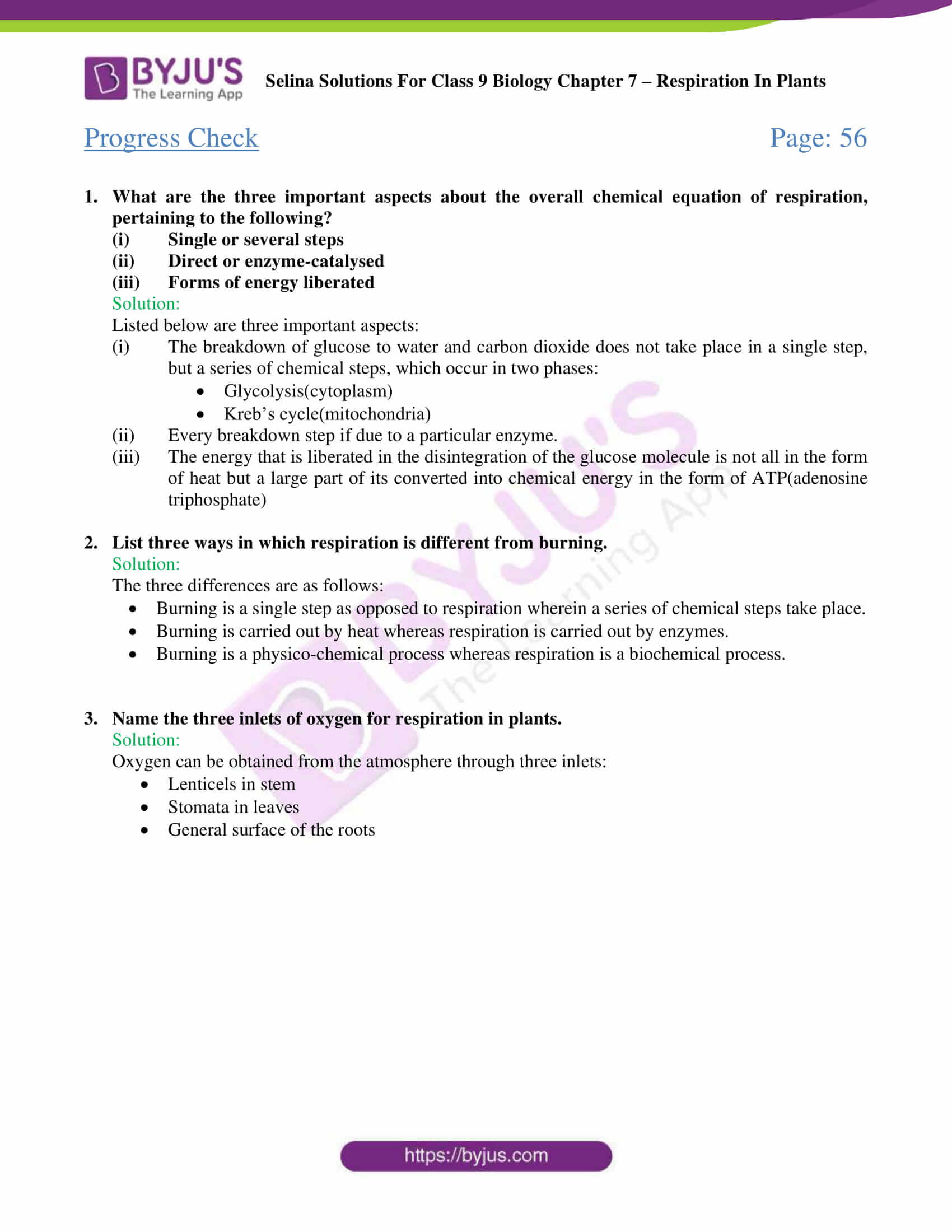 Selina Solutions For Class 9 Biology Chapter 7 Respiration In Plants part 01
