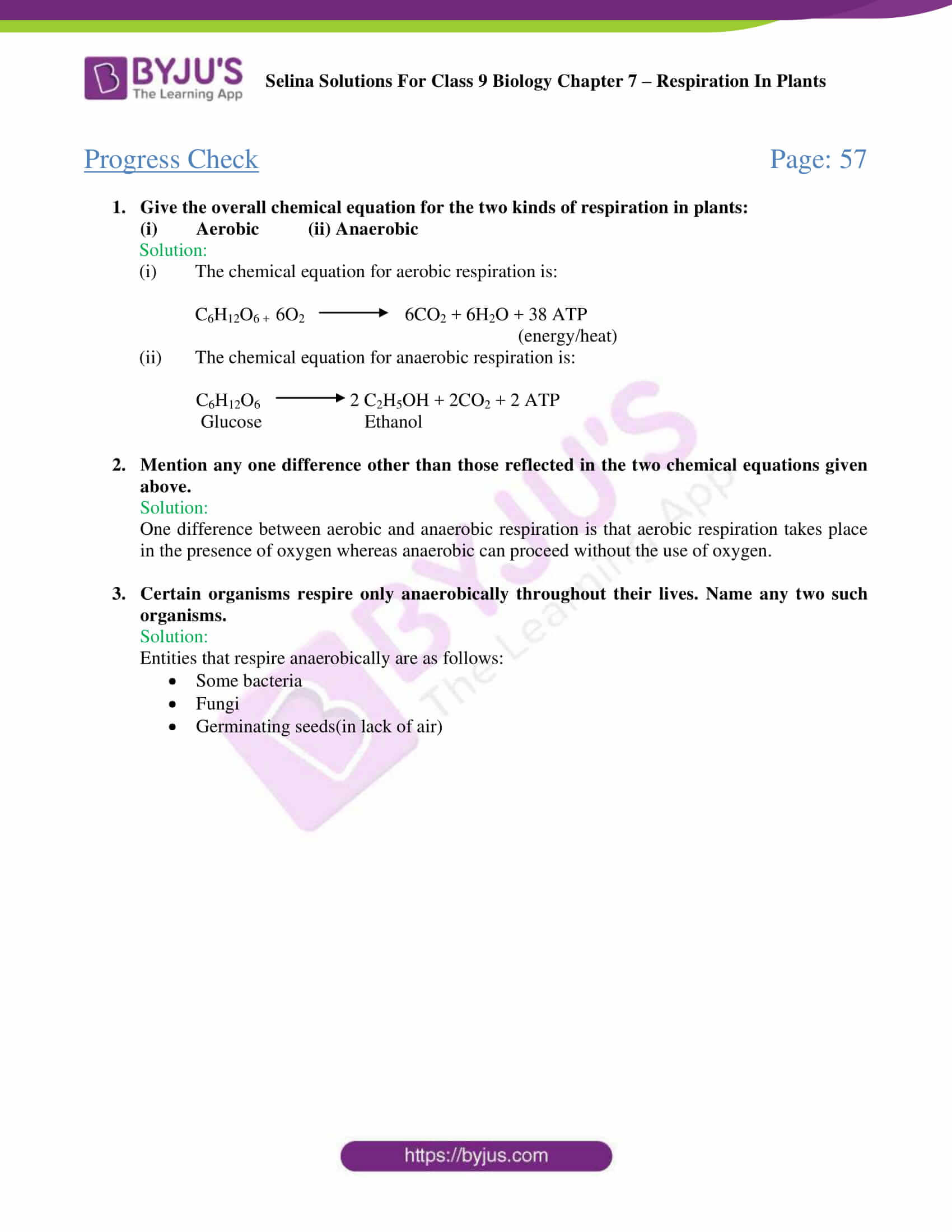 Selina Solutions For Class 9 Biology Chapter 7 Respiration In Plants part 02
