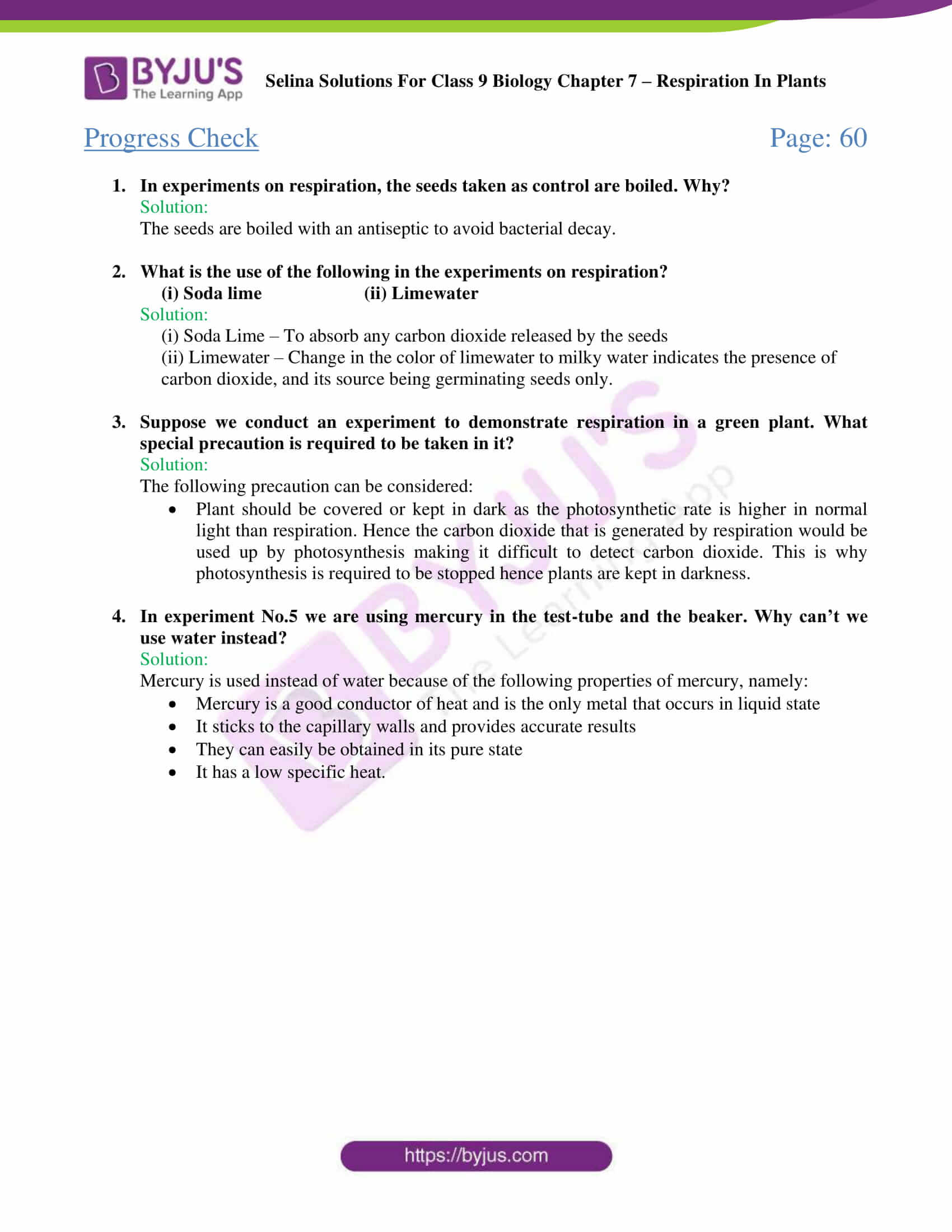 Selina Solutions For Class 9 Biology Chapter 7 Respiration In Plants part 03