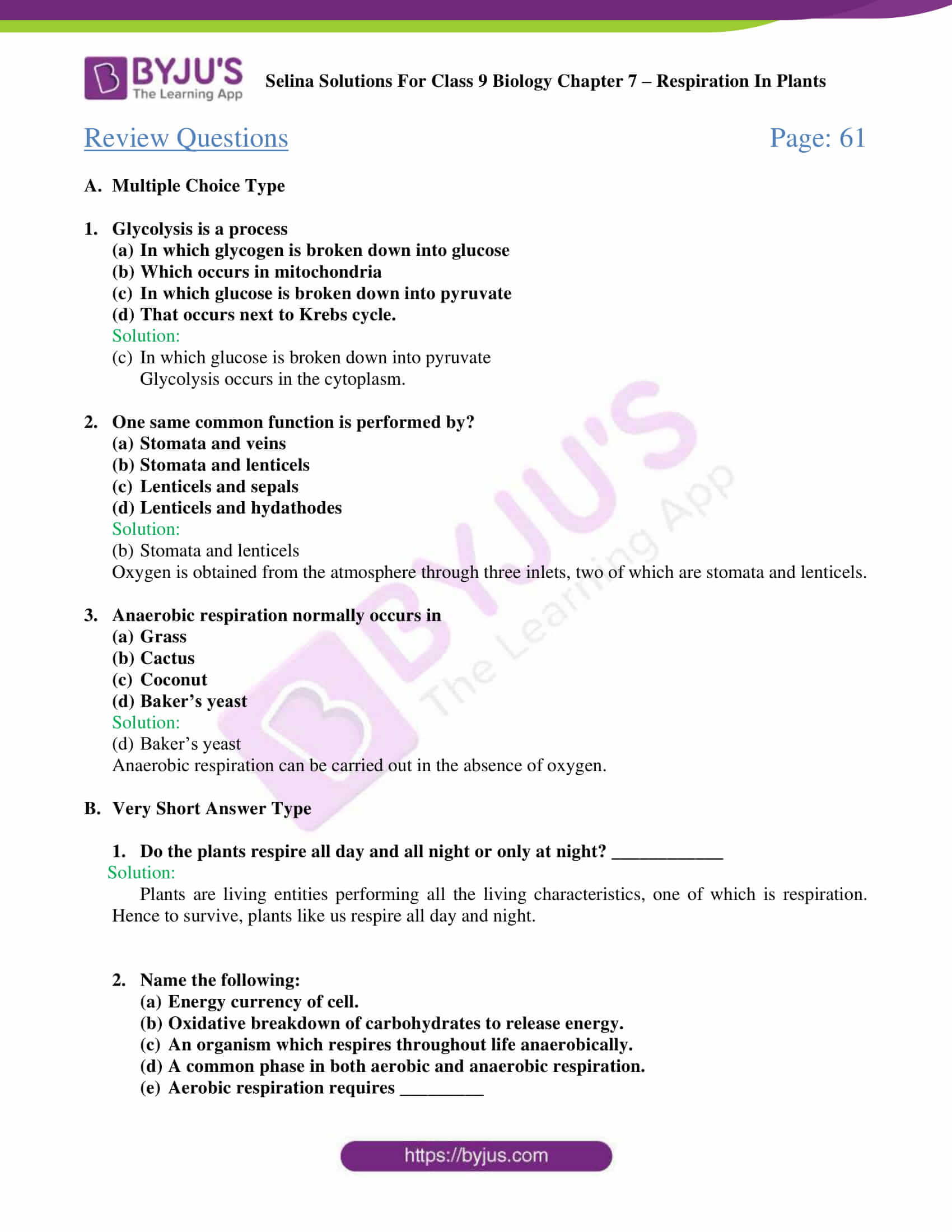 Selina Solutions For Class 9 Biology Chapter 7 Respiration In Plants part 05