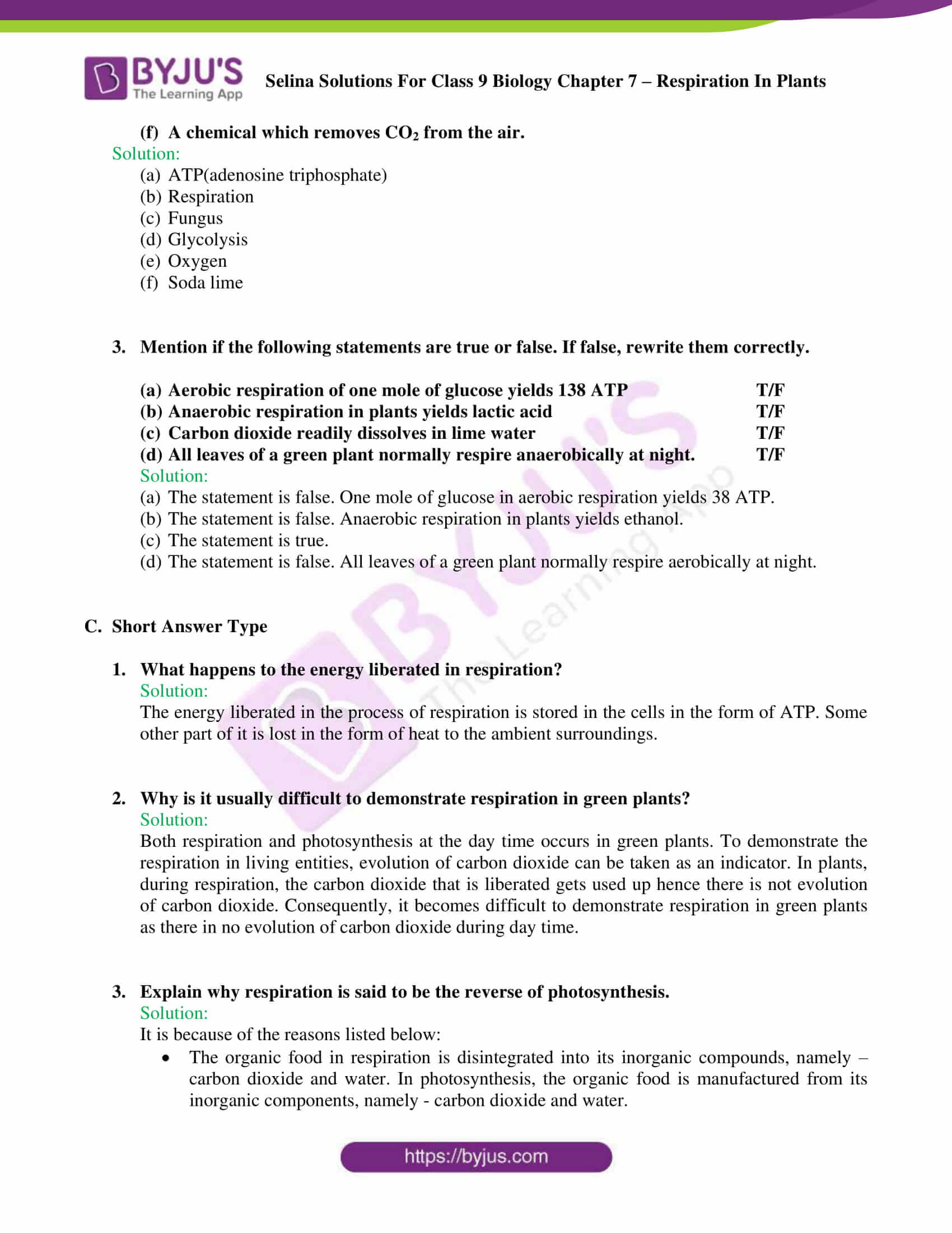 Selina Solutions For Class 9 Biology Chapter 7 Respiration In Plants part 06