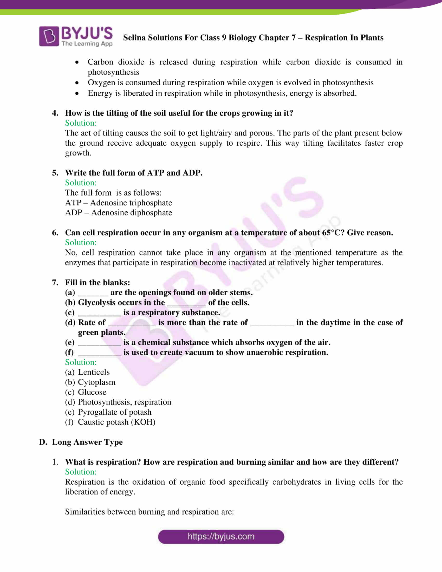 Selina Solutions For Class 9 Biology Chapter 7 Respiration In Plants part 07
