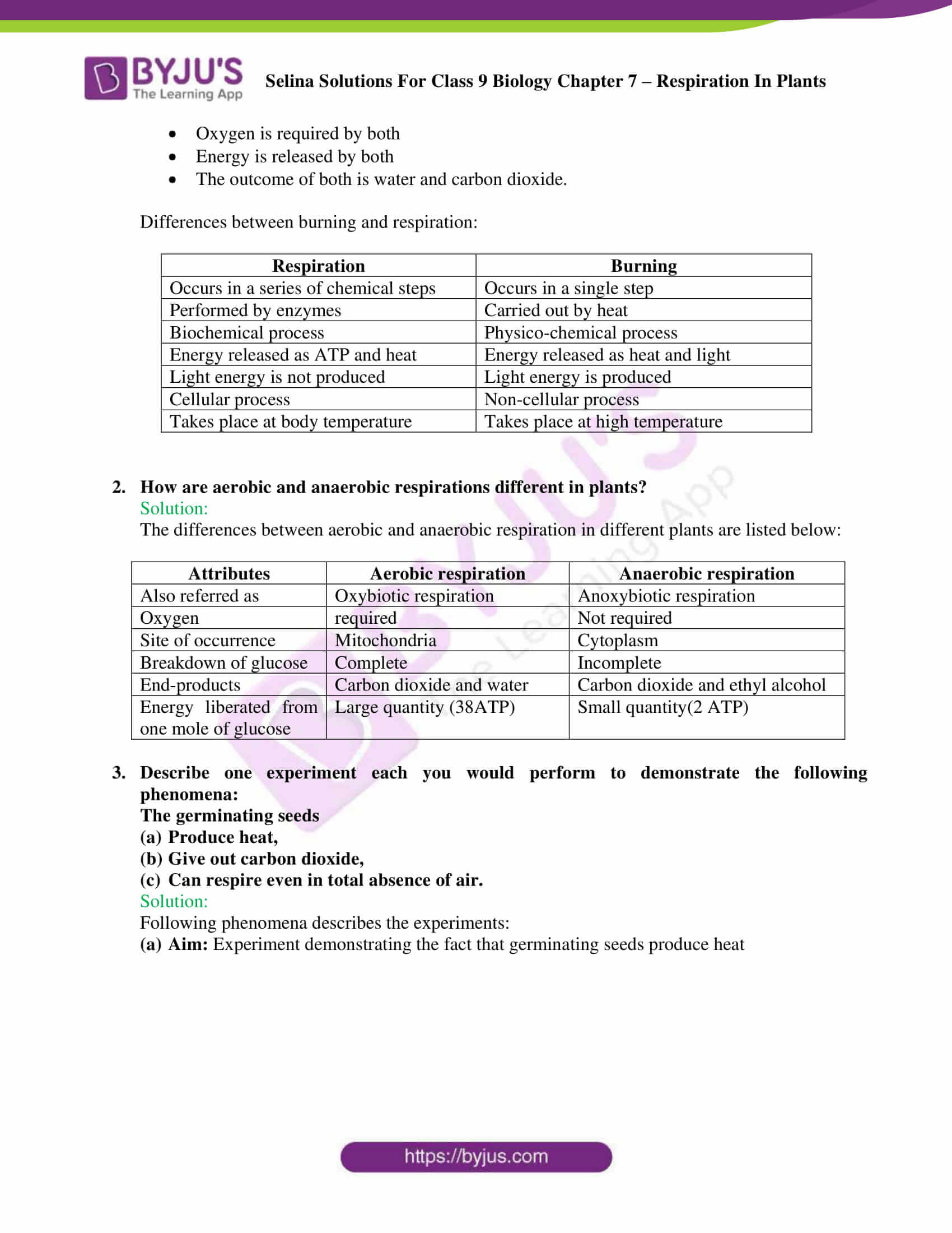 Selina Solutions For Class 9 Biology Chapter 7 Respiration In Plants part 08