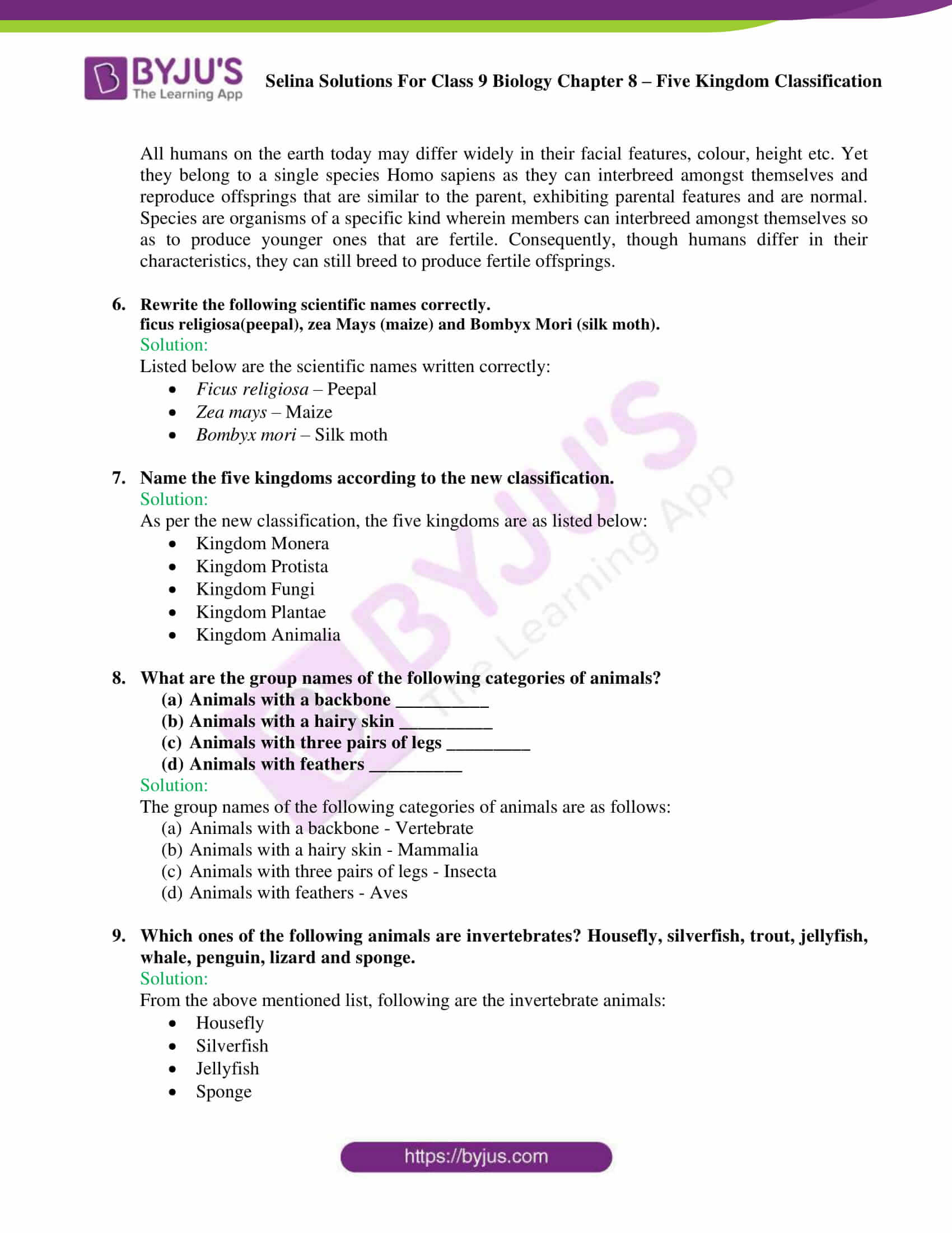 Selina Solutions For Class 9 Biology Chapter 8 Five Kingdom Classification part 08