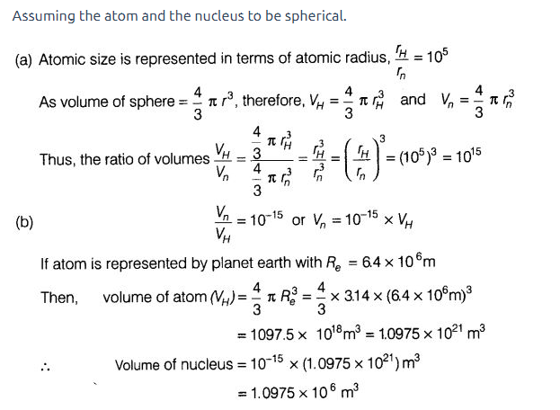 volume of atom and nucleus