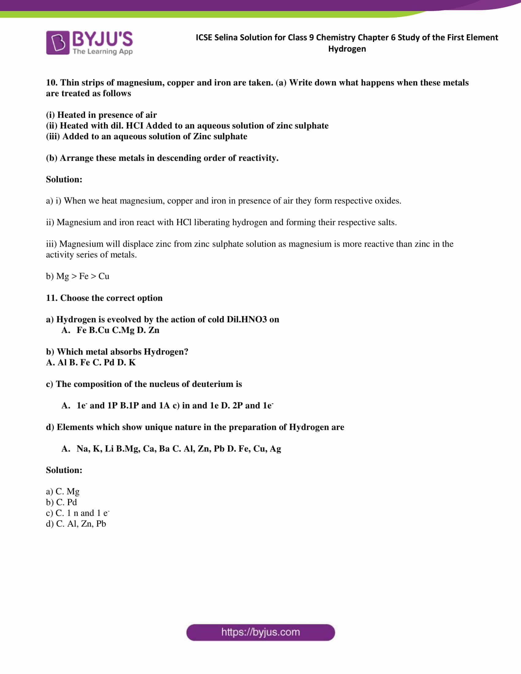 ICSE Selina Solution class 9 Chemistry Chapter 6 Exercise part 08