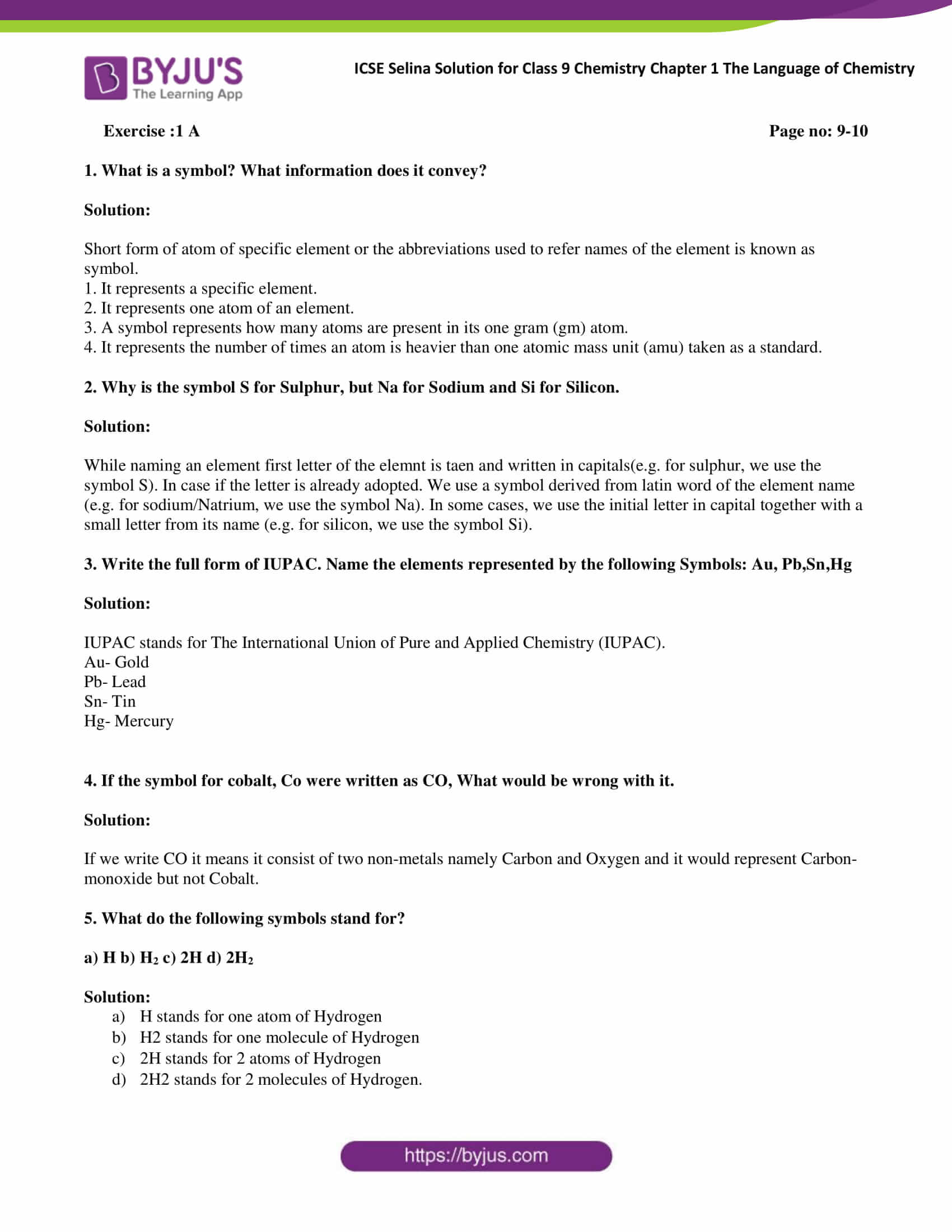 Selina Solutions Class 9 Concise Chemistry Chapter 1 The Language Of Chemistry Download Free Pdf