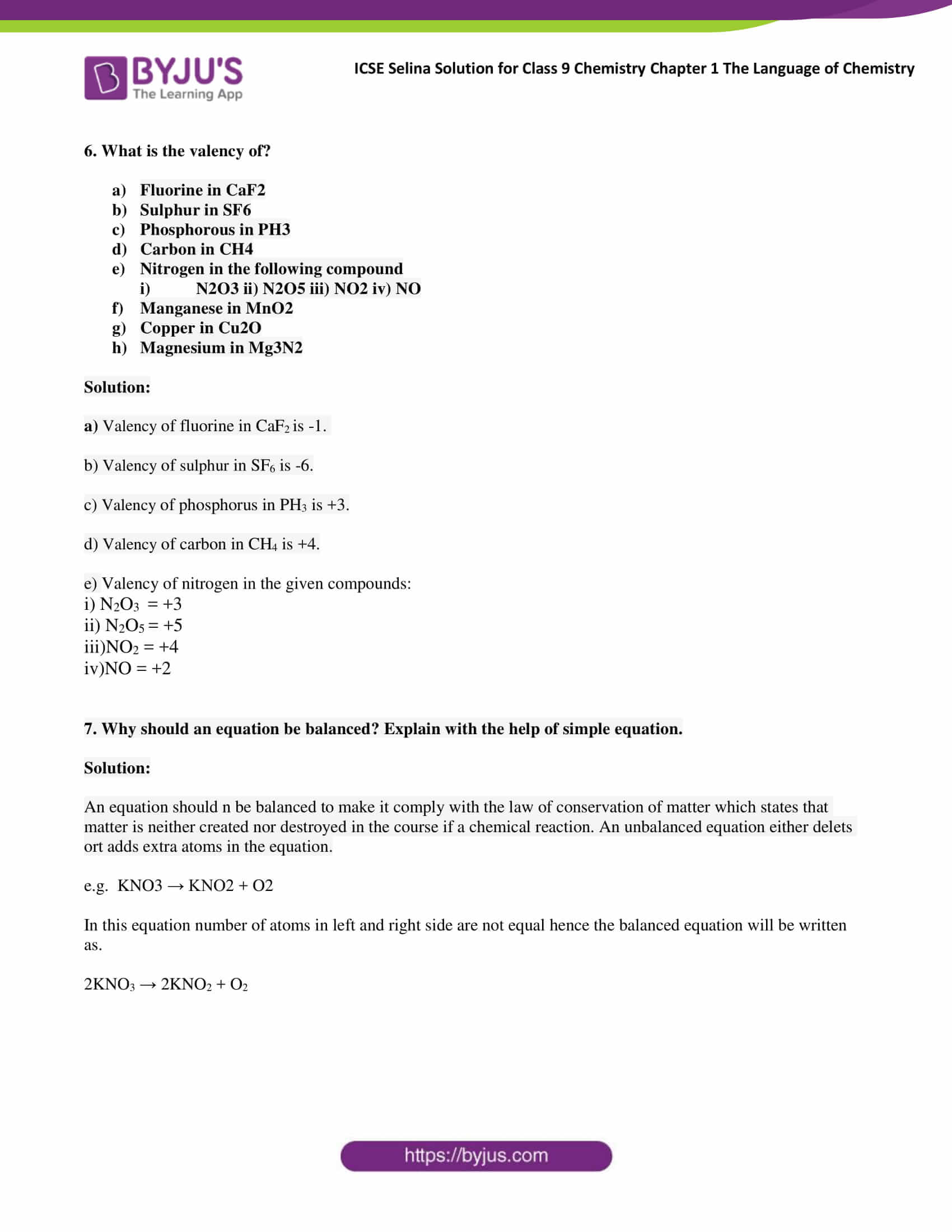 ICSE Selina Solution for class 9 Chemistry Chapter 1 Ex part 13