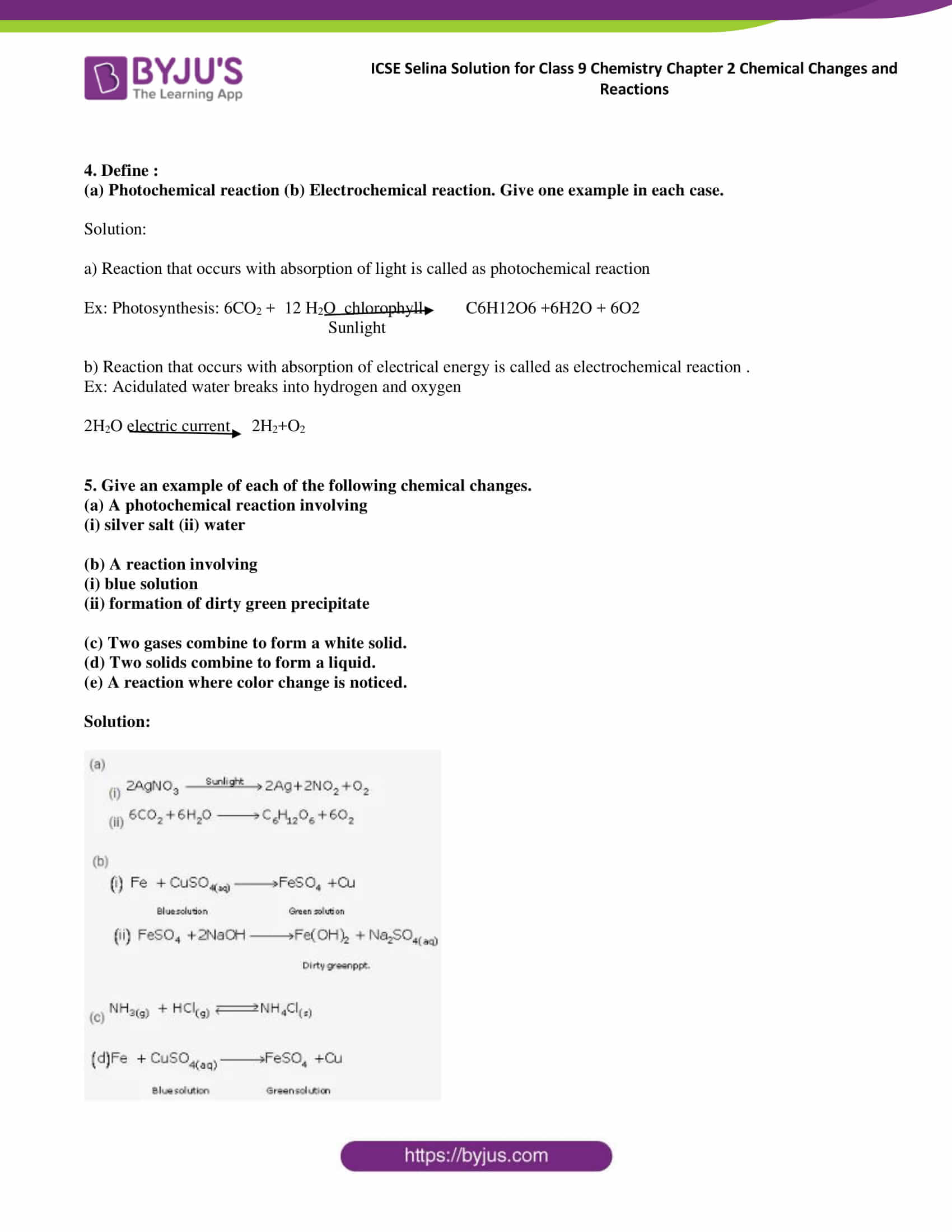 ICSE Selina Solution for class 9 Chemistry Chapter 2 Ex part 02