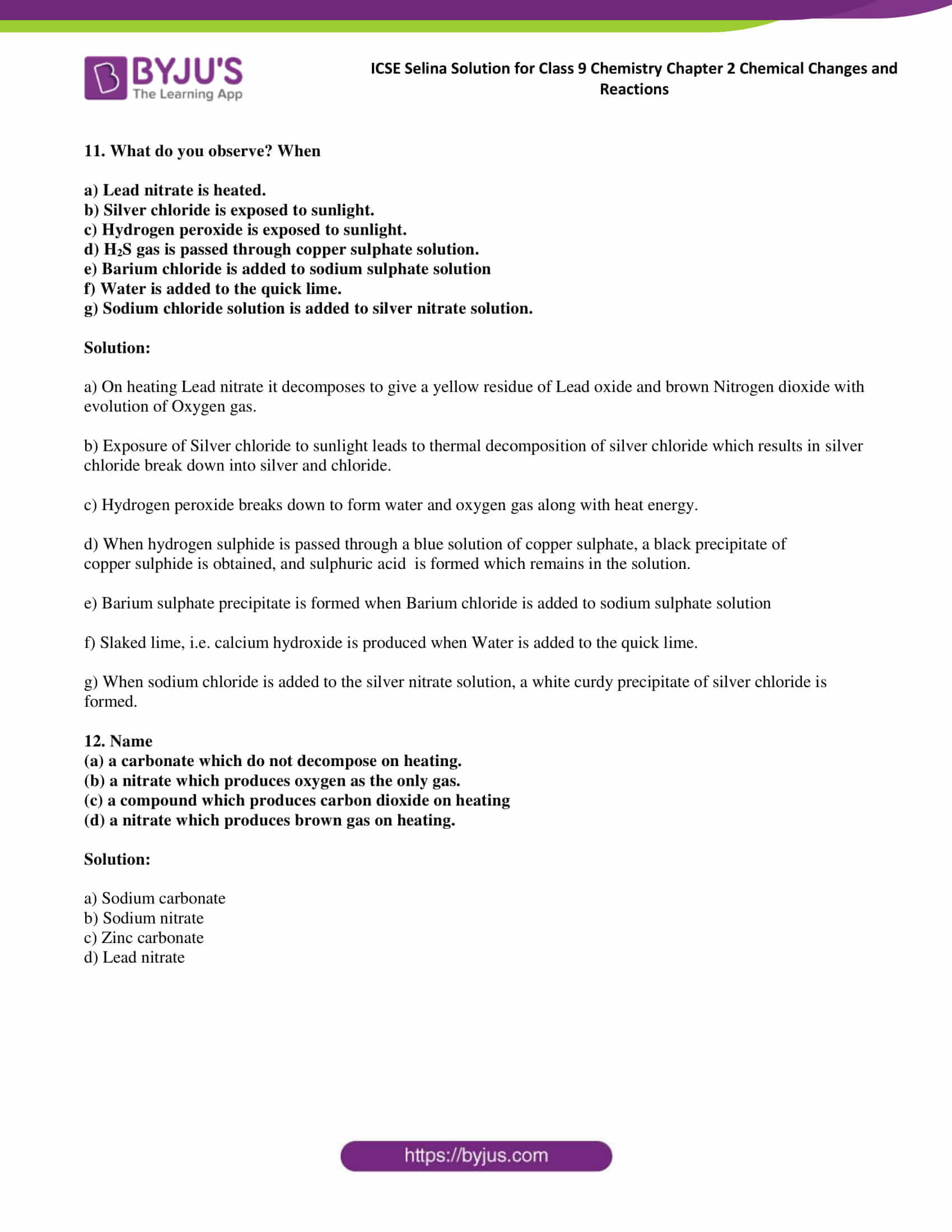 ICSE Selina Solution for class 9 Chemistry Chapter 2 Ex part 13