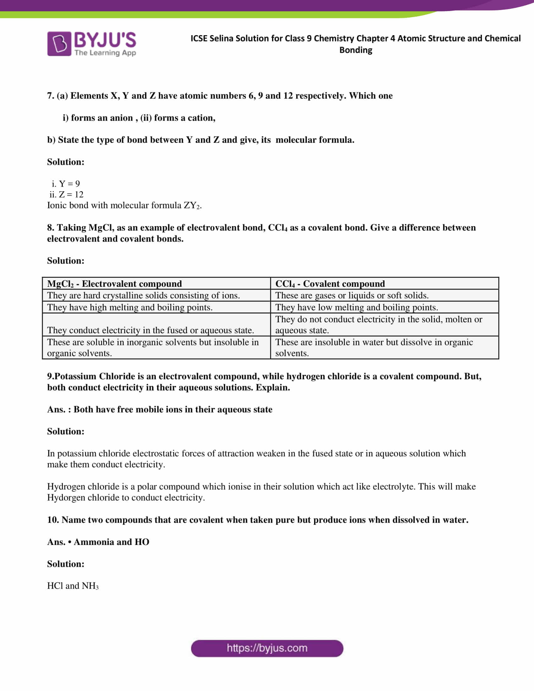ICSE Selina Solution for class 9 Chemistry Chapter 4 Ex part 26