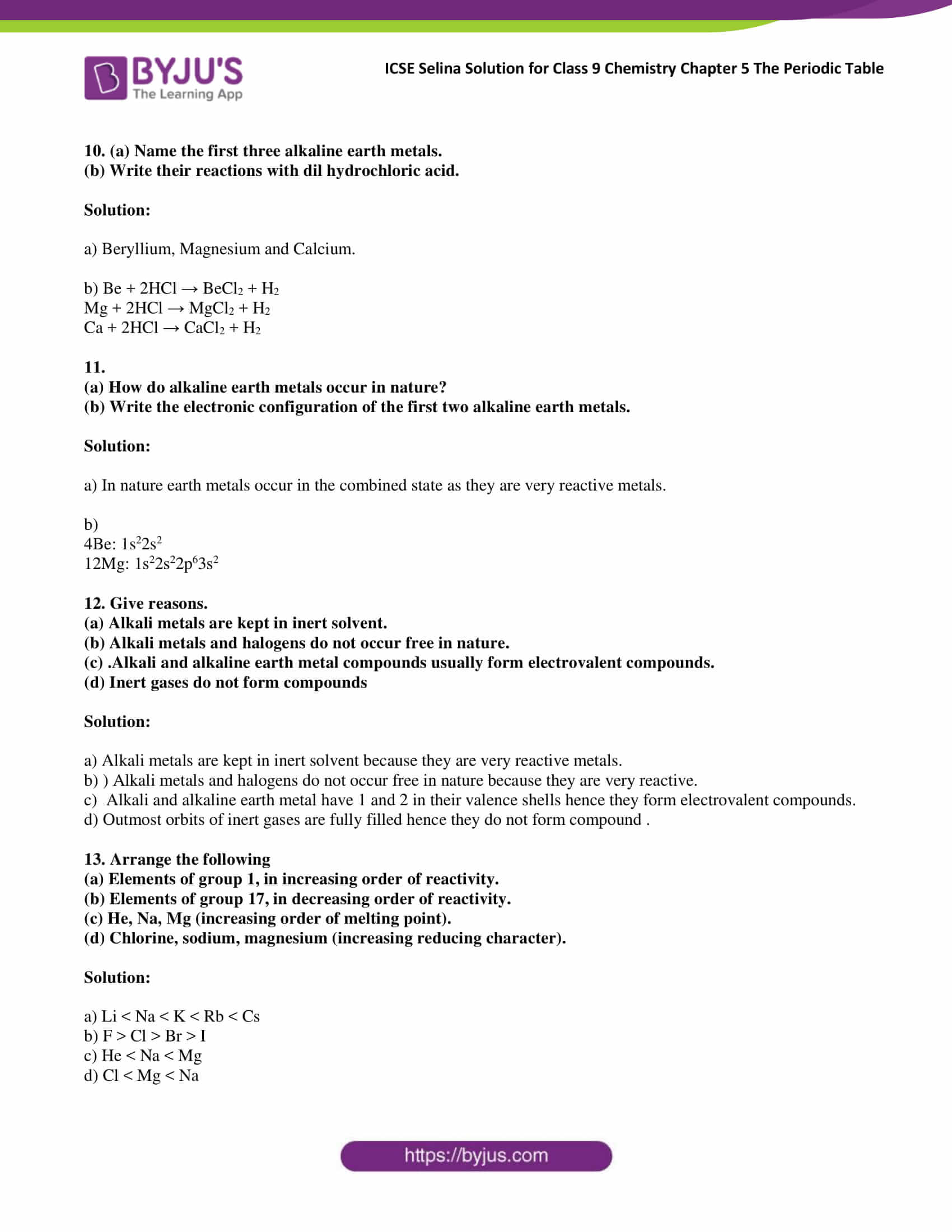 ICSE Selina Solution for class 9 Chemistry Chapter 5 Ex part 13