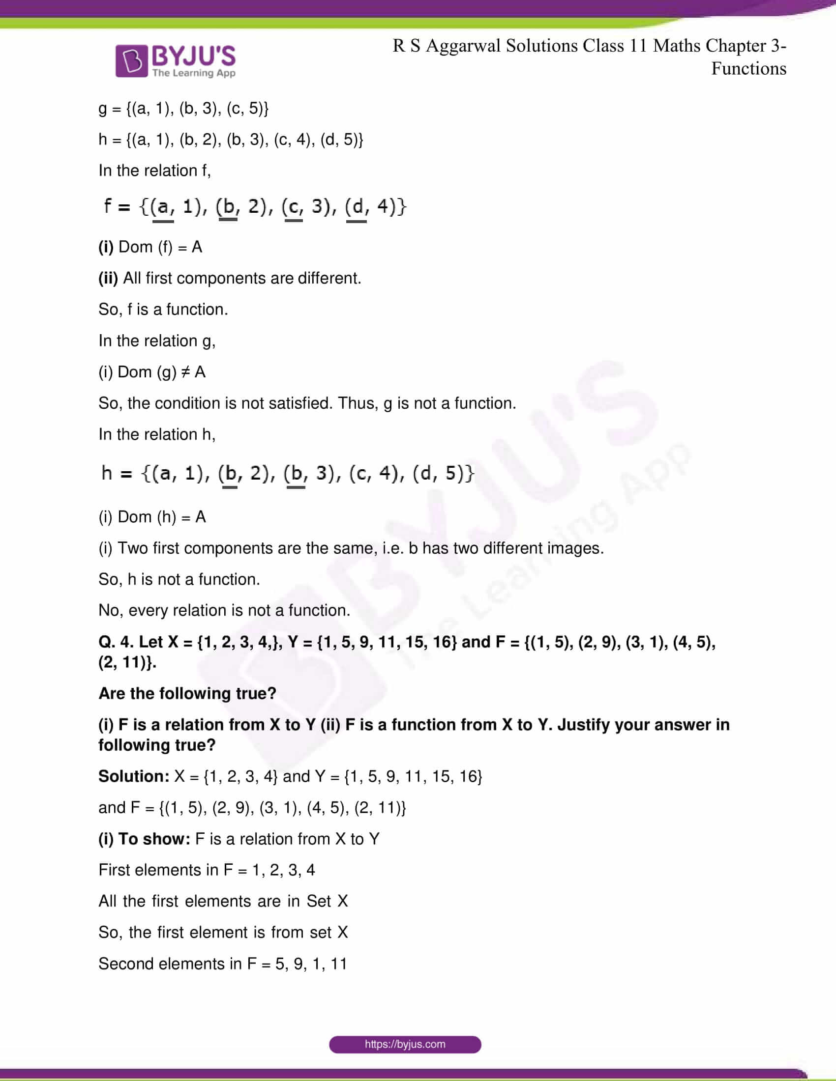 RS Aggarwal Sol Class 11 Maths Chapter 3