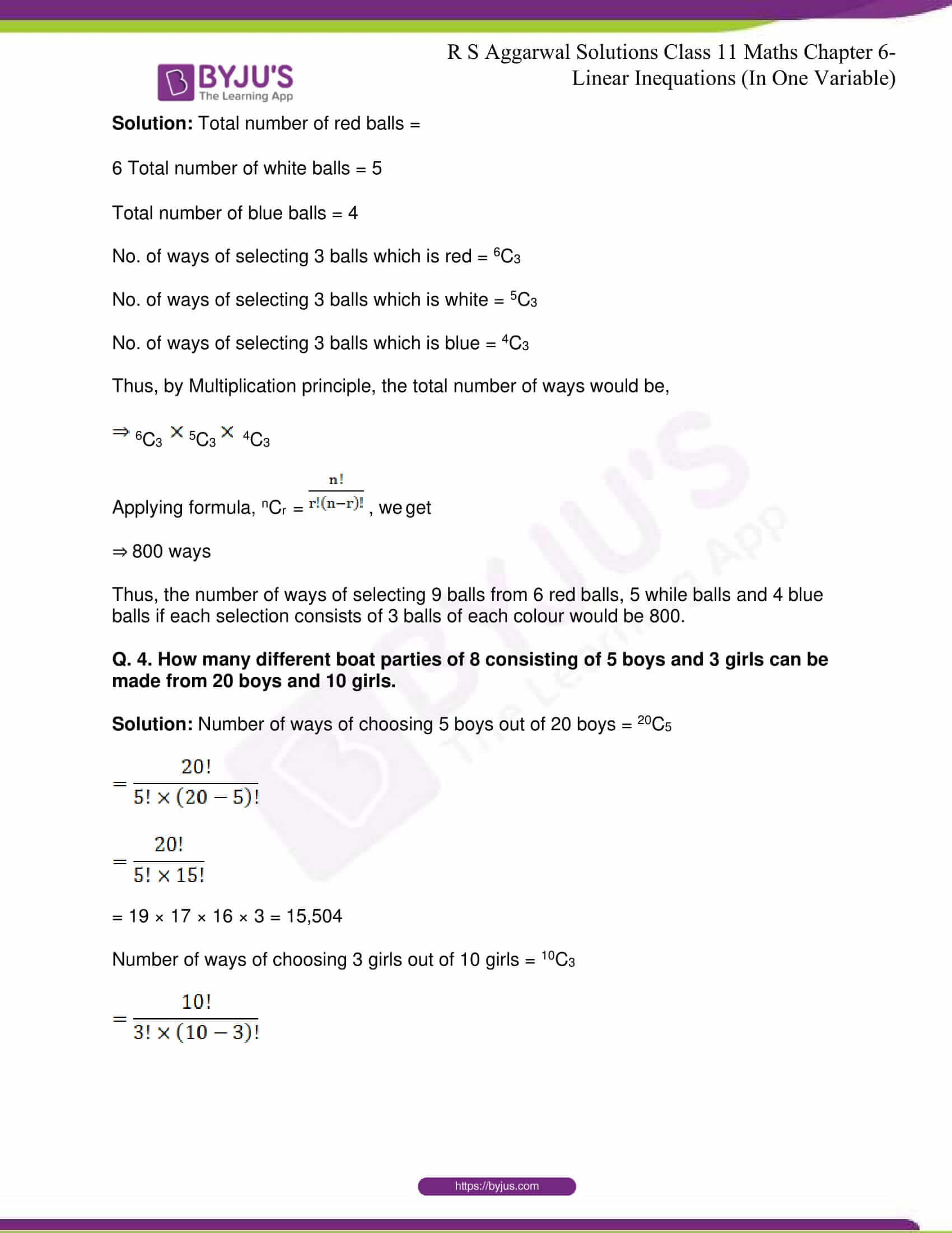 RS Aggarwal Sol Class 11 Maths Chapter 9