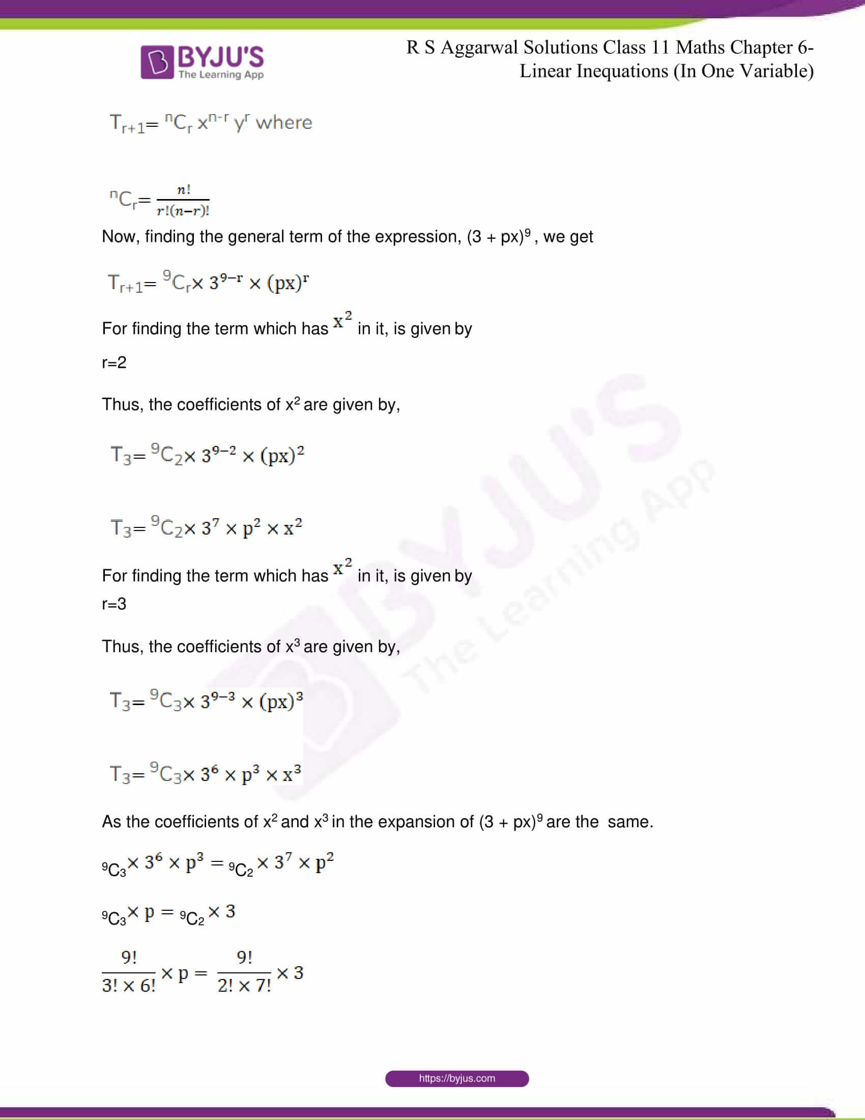 RS Aggarwal Sol Class 11 Maths Chapter 10