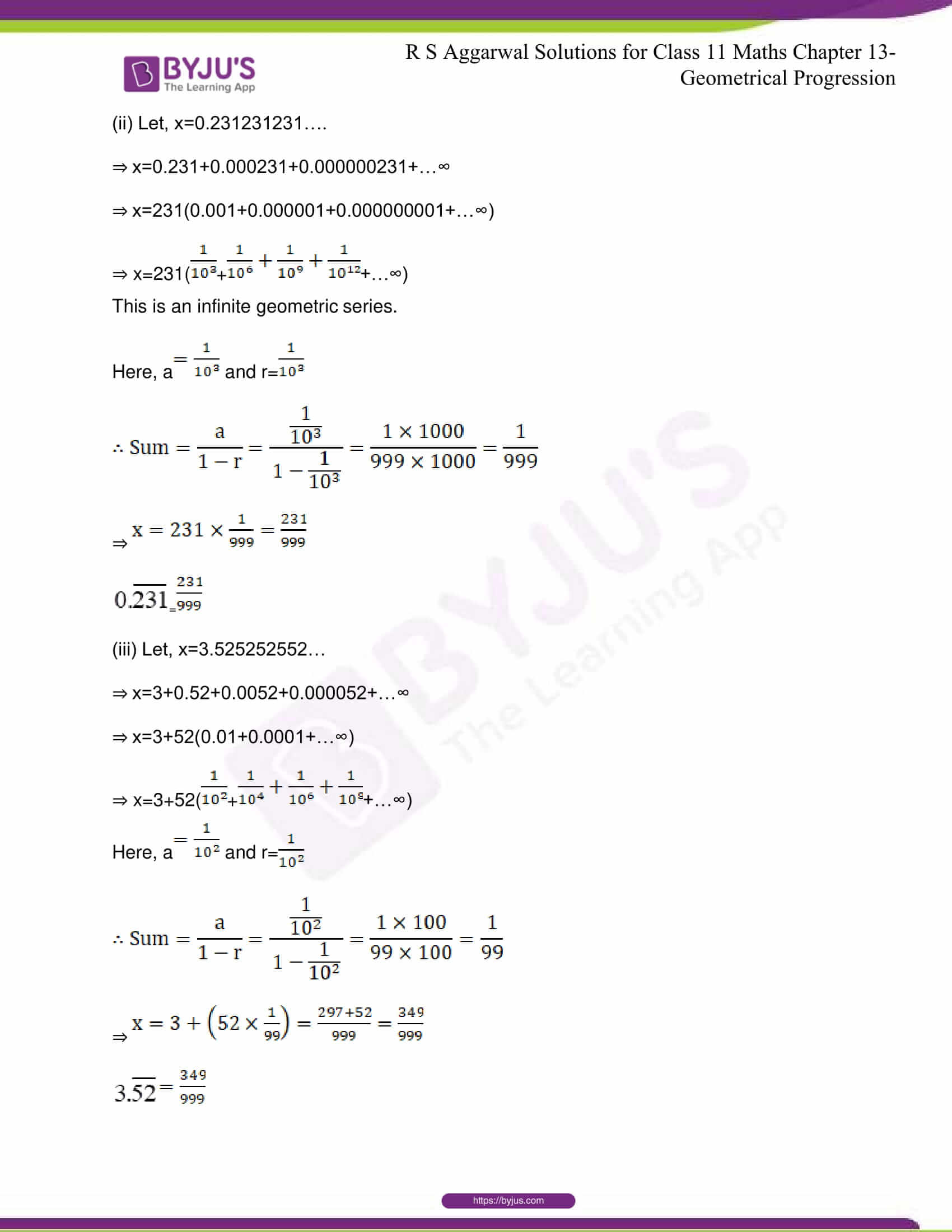 RS Aggarwal Sol Class 11 Maths Chapter 12