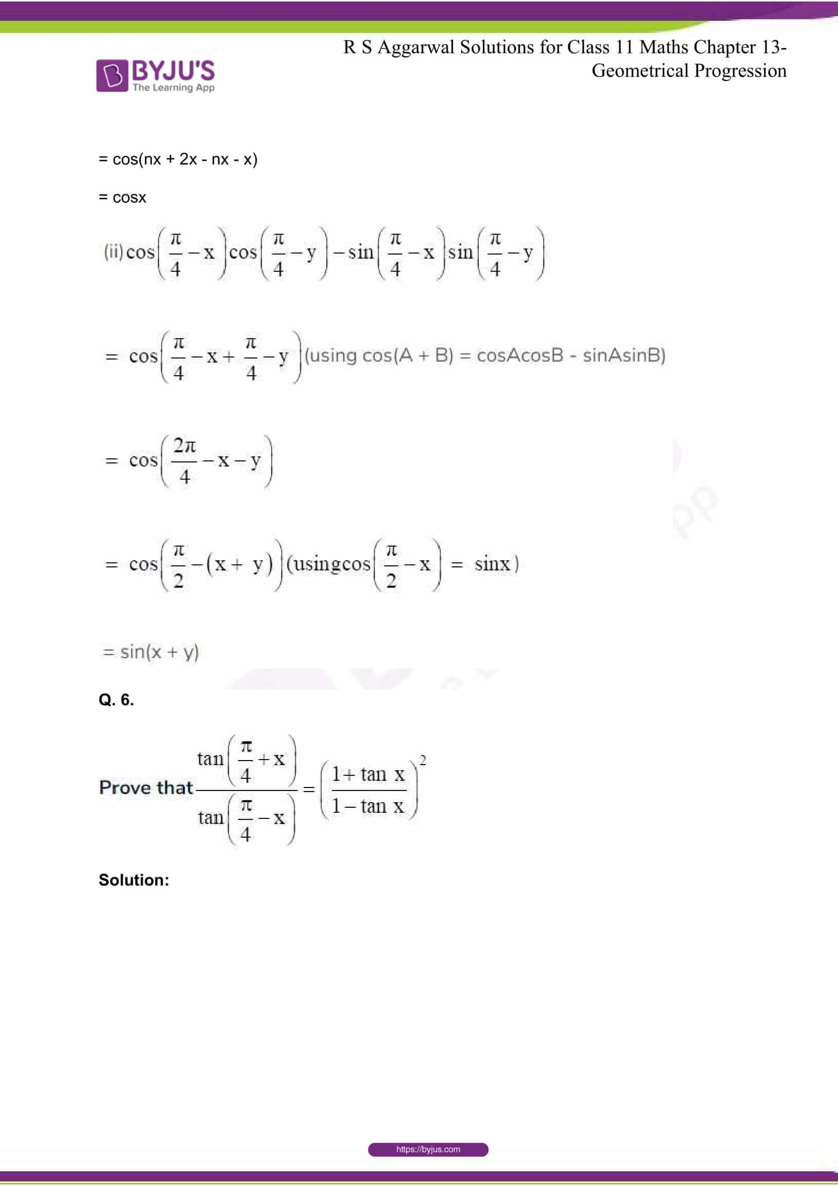 RS Aggarwal Sol Class 11 Maths Chapter 15