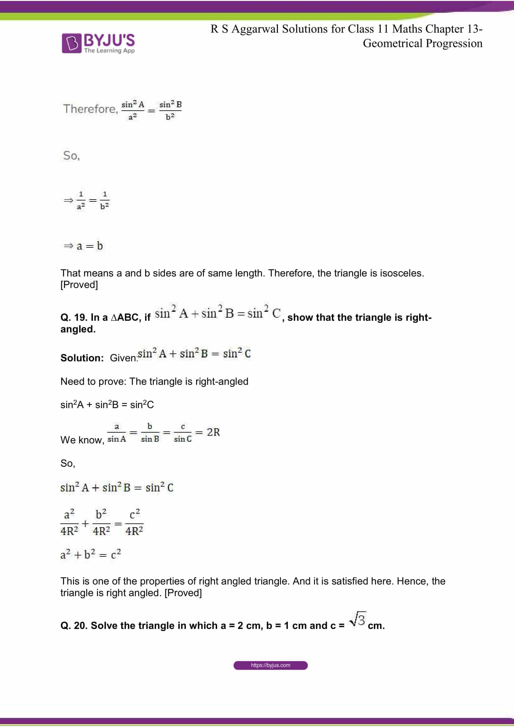 RS Aggarwal Sol Class 11 Maths Chapter 18