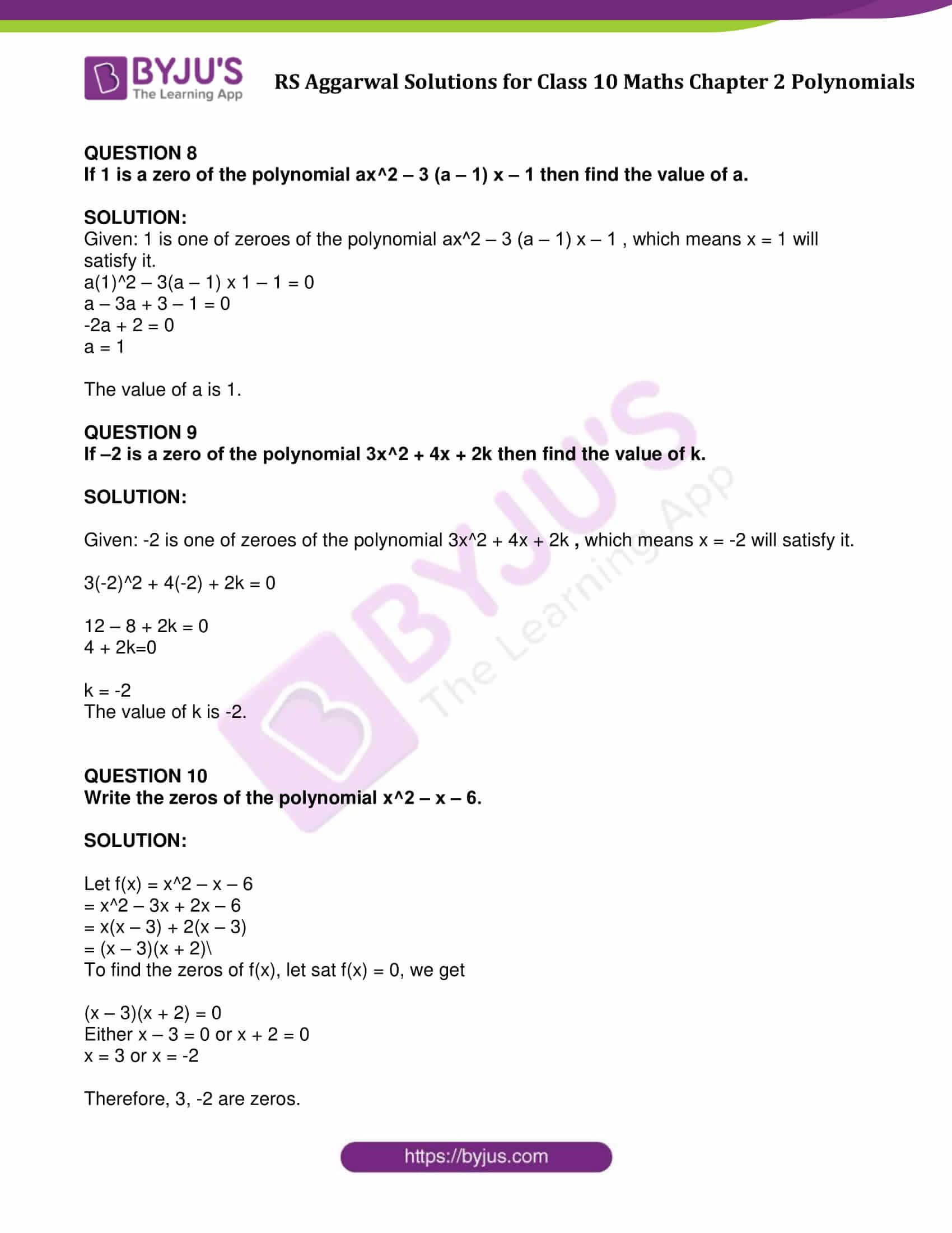 rs aggarwal sol class 10 maths cht 2