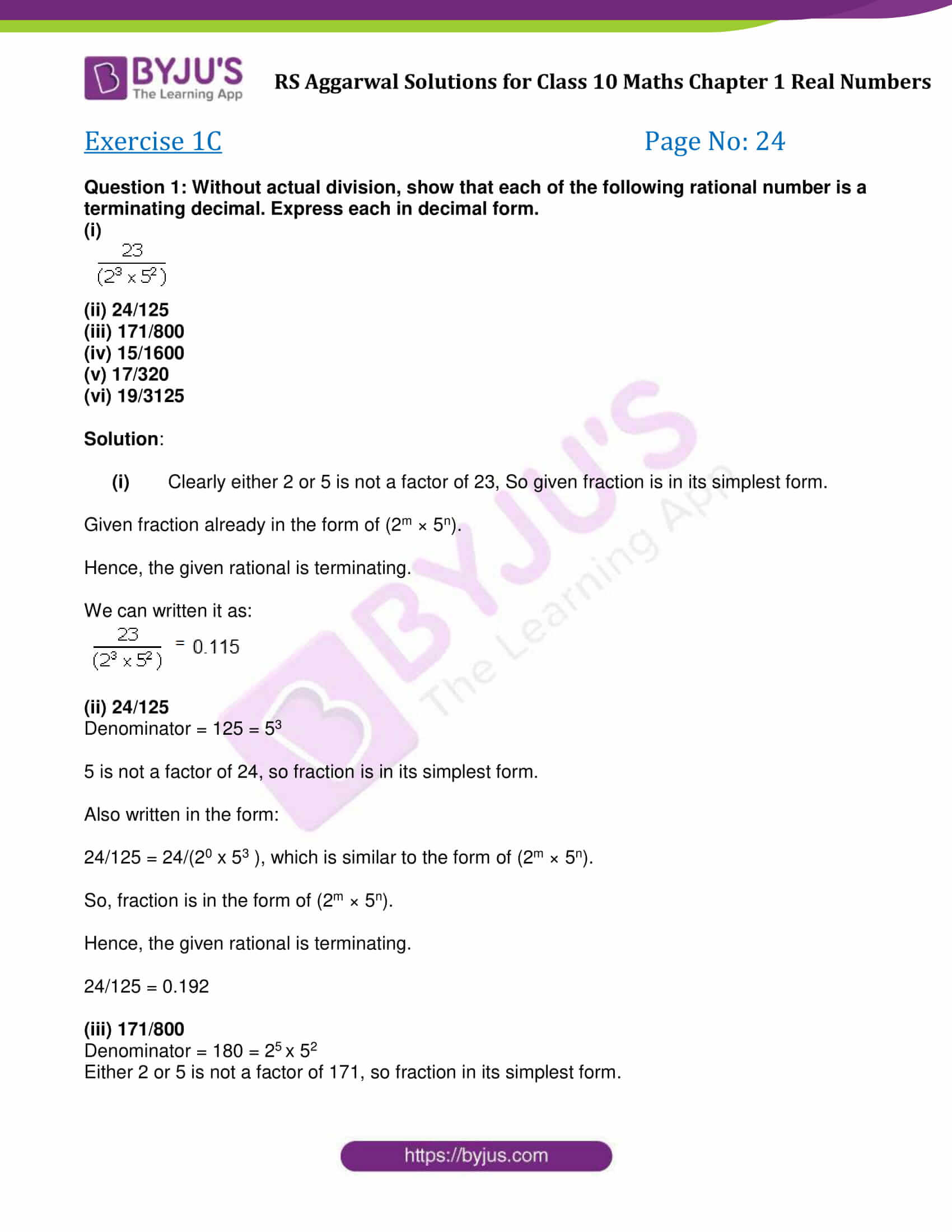 Rs Aggarwal Solution Class 10 Maths Chapter 1 Ex 1C
