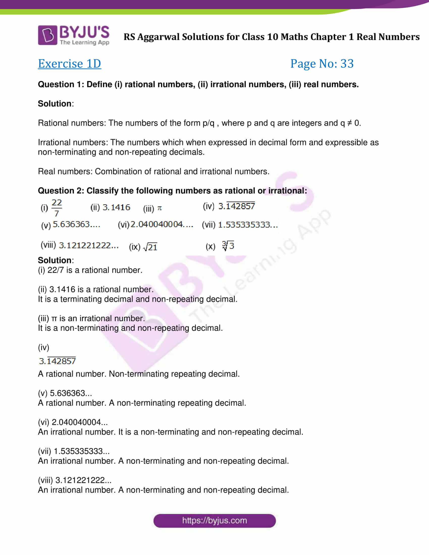 Rs Aggarwal Solution Class 10 Maths Chapter 1 Ex 1D