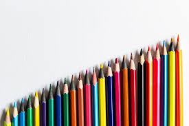 An orderly arrangement of pencils in a linear wa