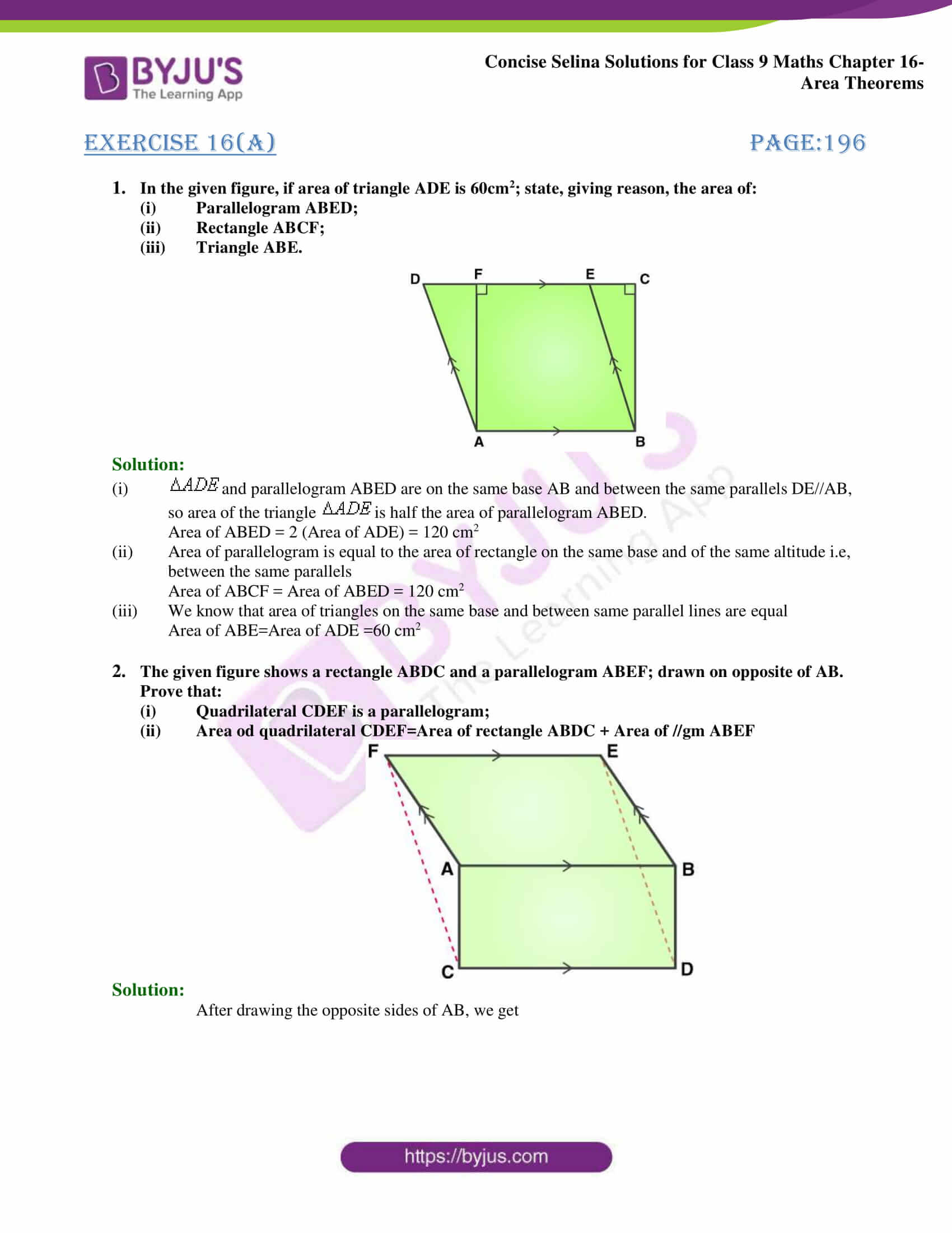 Concise Selina Solutions Class 9 Maths Chapter 16 Area Theorems part 01
