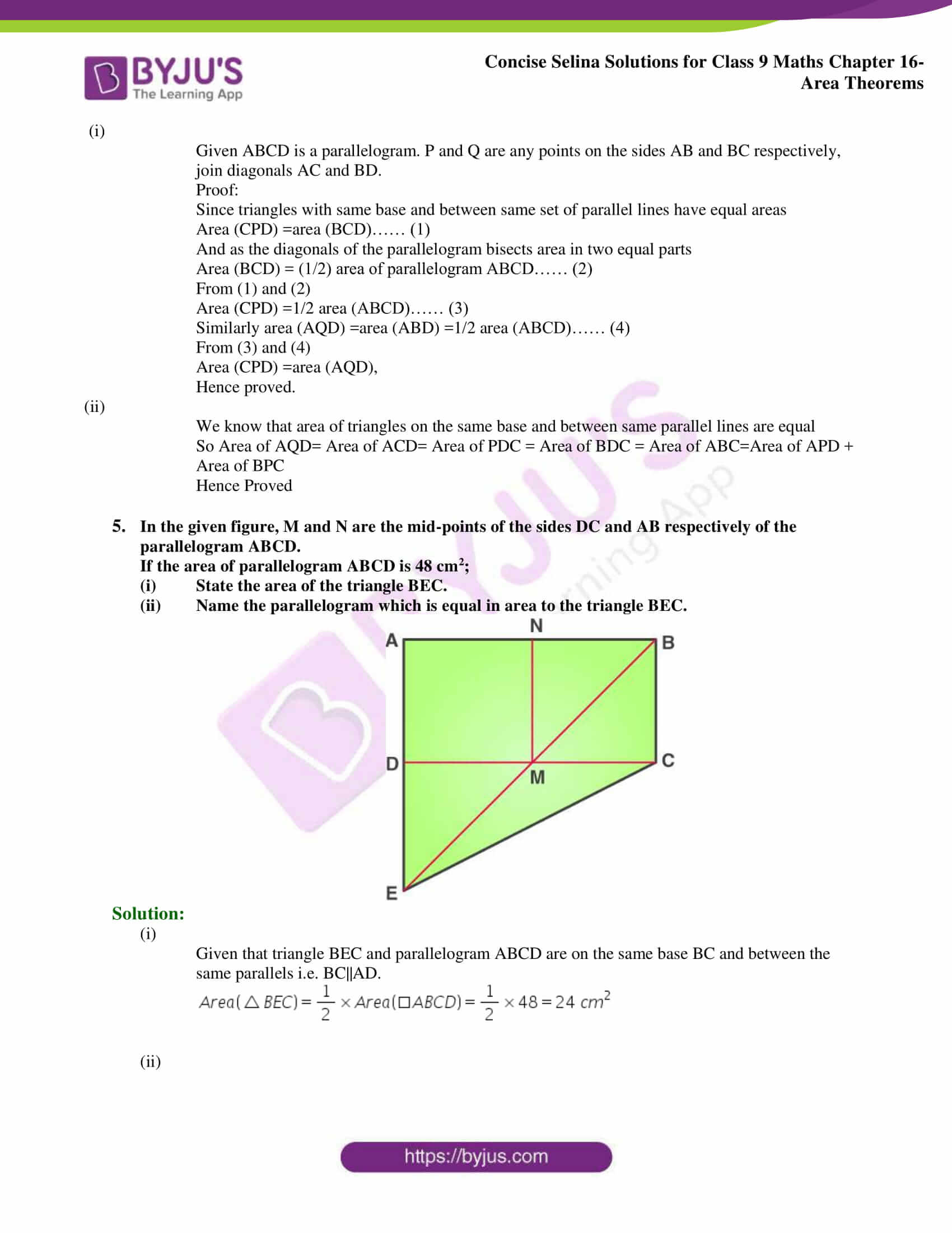 Concise Selina Solutions Class 9 Maths Chapter 16 Area Theorems part 04