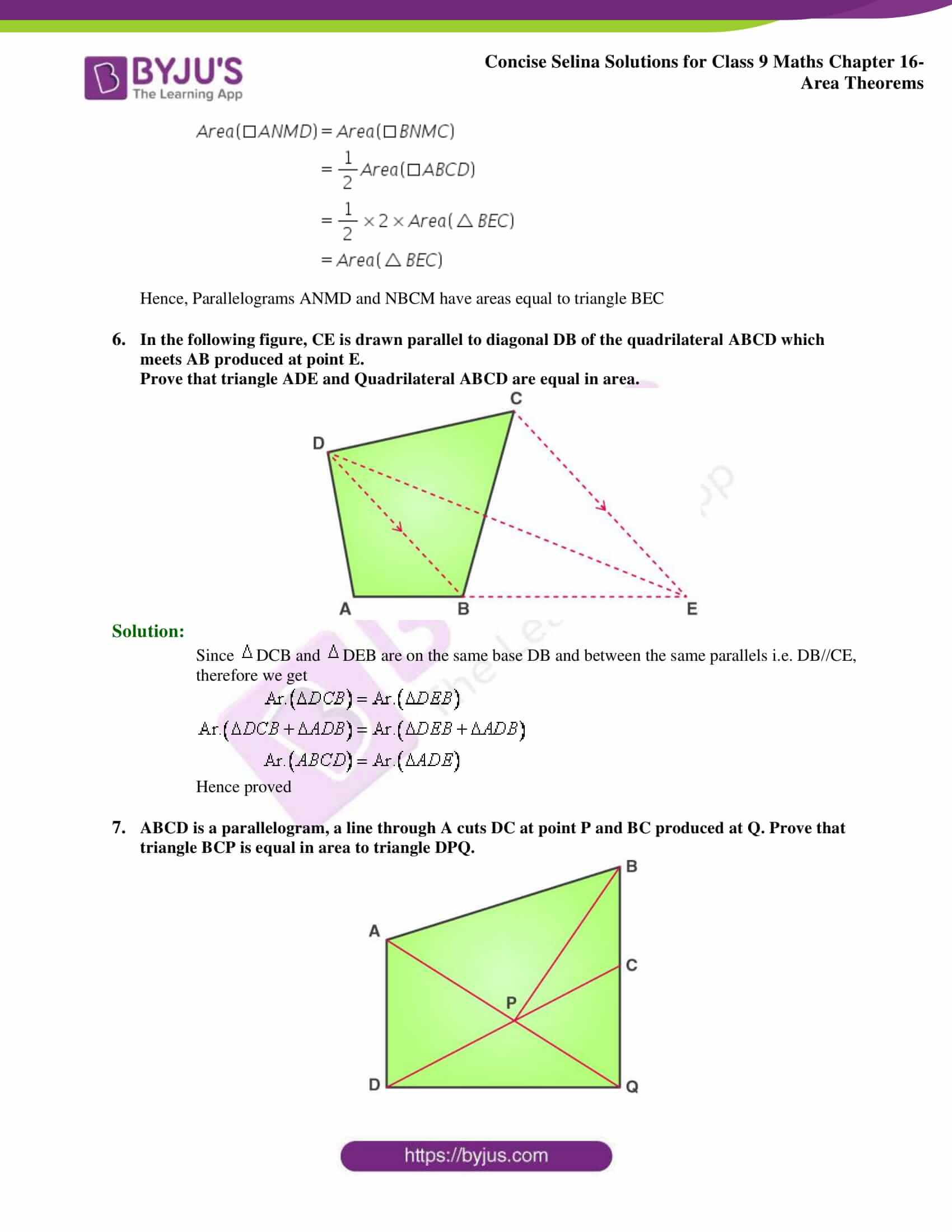 Concise Selina Solutions Class 9 Maths Chapter 16 Area Theorems part 05