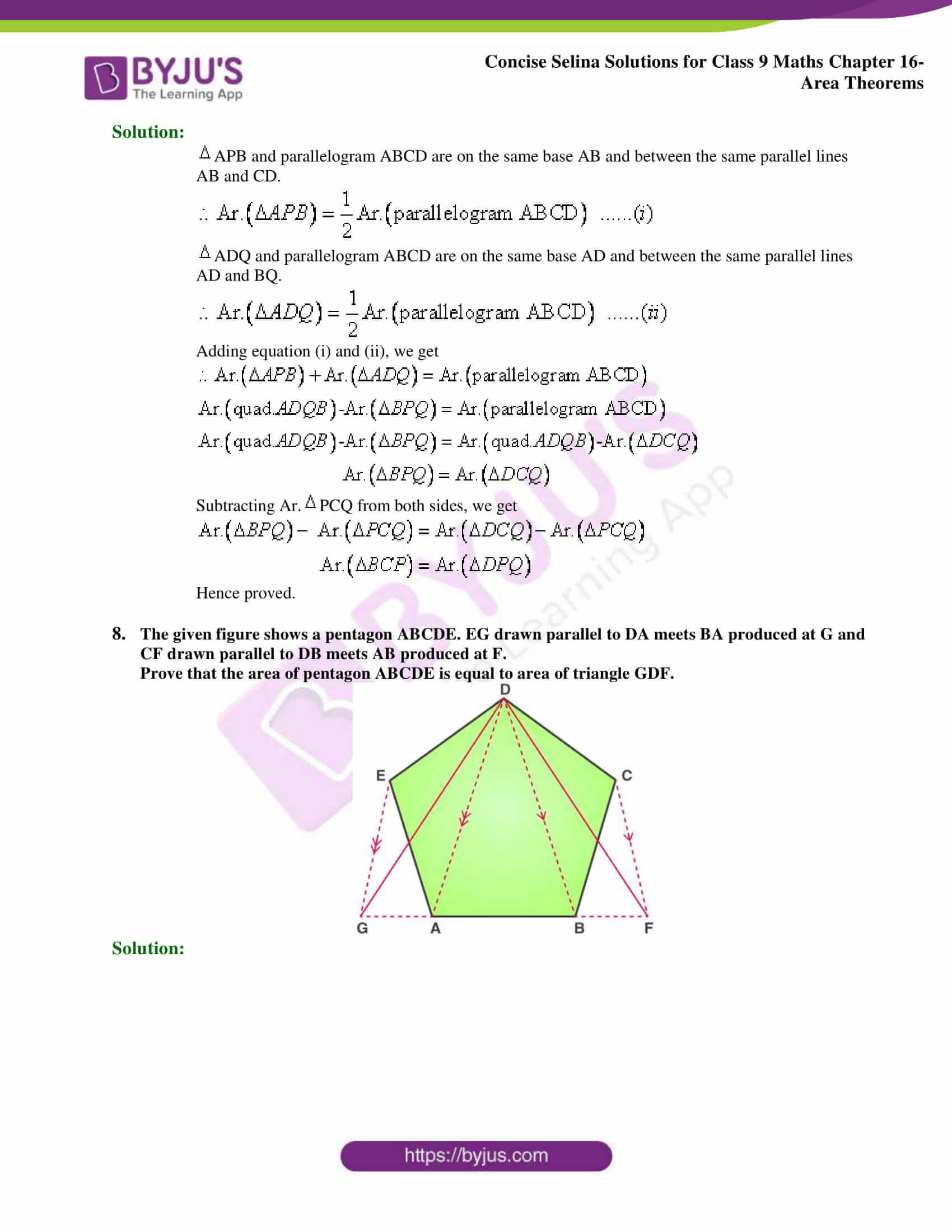 Concise Selina Solutions Class 9 Maths Chapter 16 Area Theorems part 06