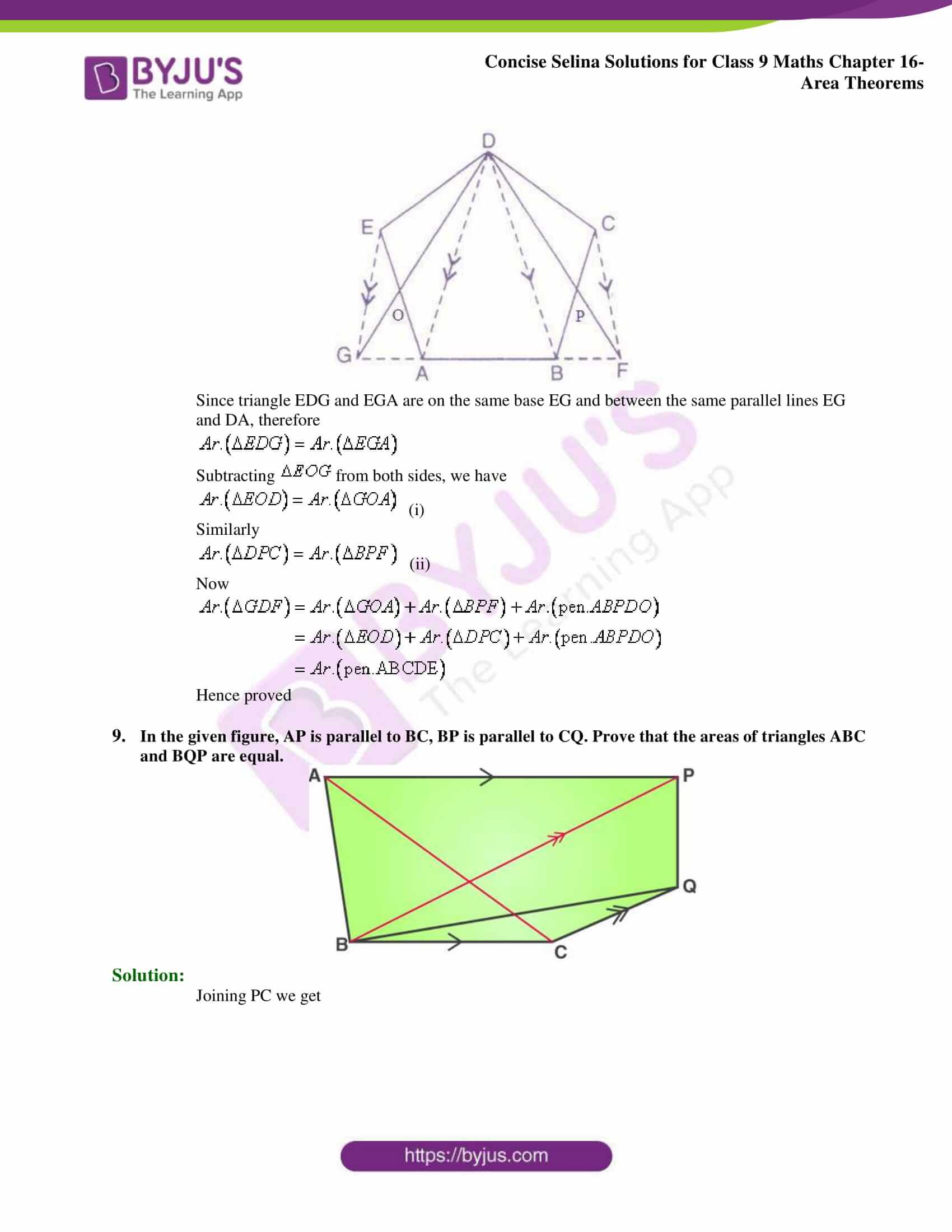 Concise Selina Solutions Class 9 Maths Chapter 16 Area Theorems part 07