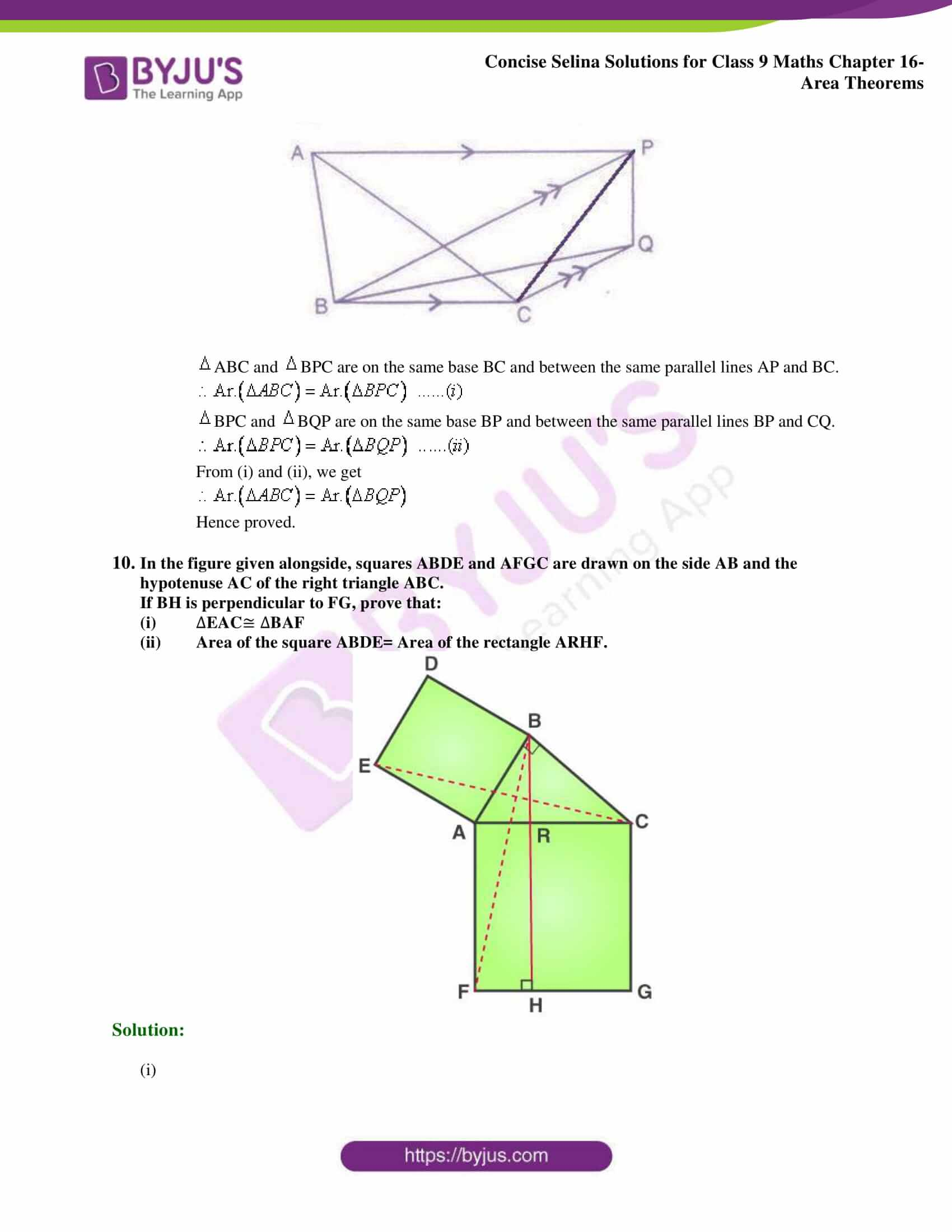 Concise Selina Solutions Class 9 Maths Chapter 16 Area Theorems part 08