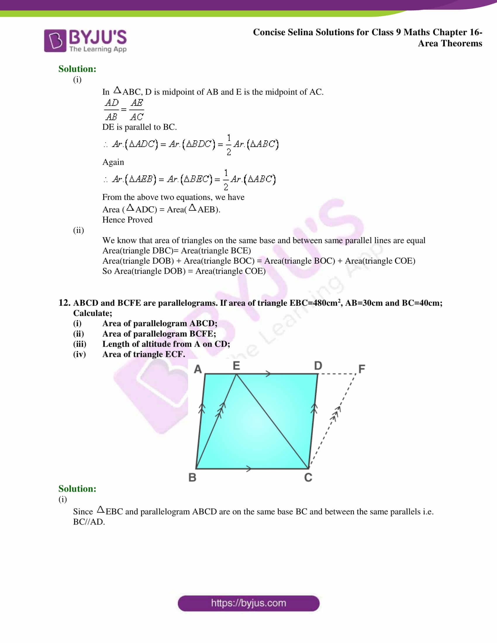 Concise Selina Solutions Class 9 Maths Chapter 16 Area Theorems part 10