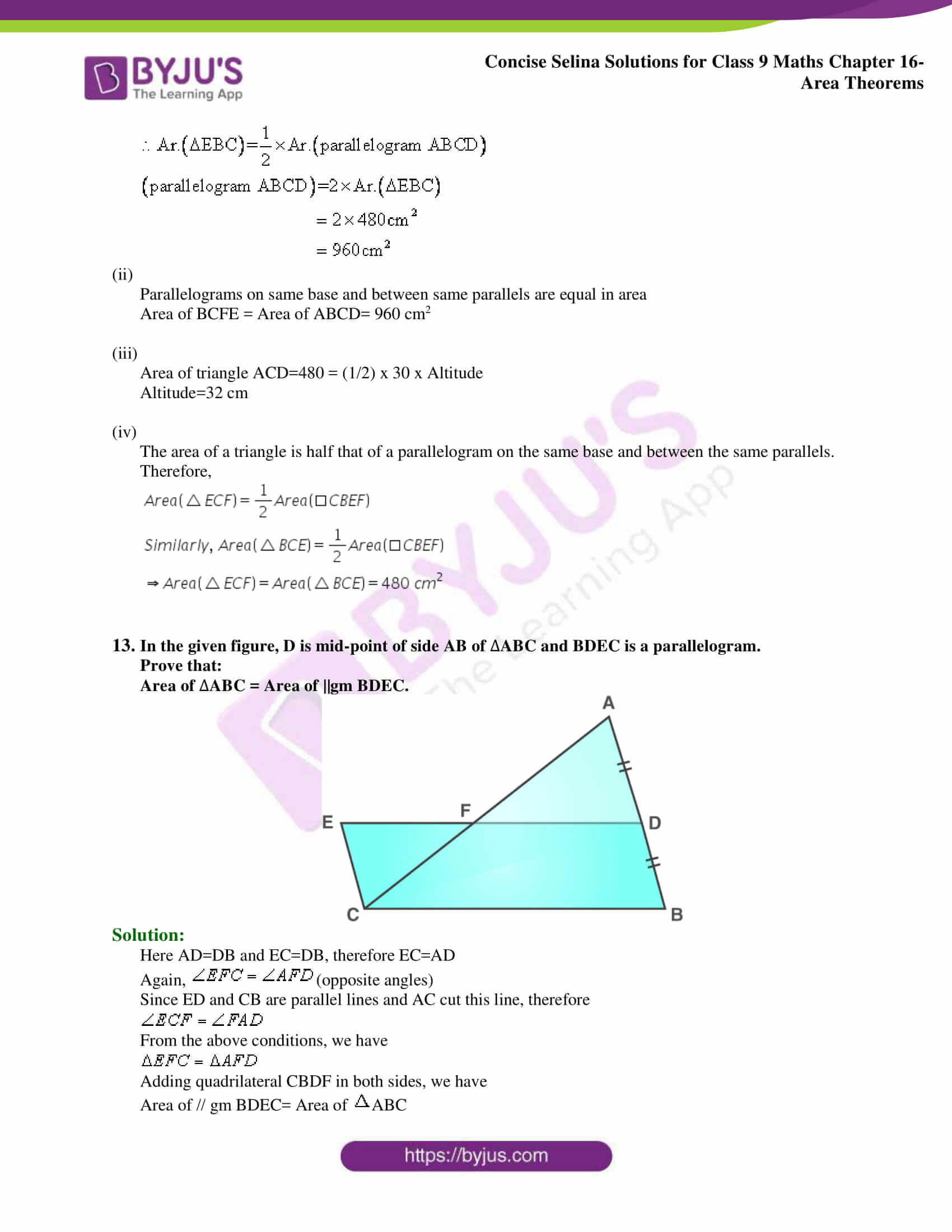 Concise Selina Solutions Class 9 Maths Chapter 16 Area Theorems part 11