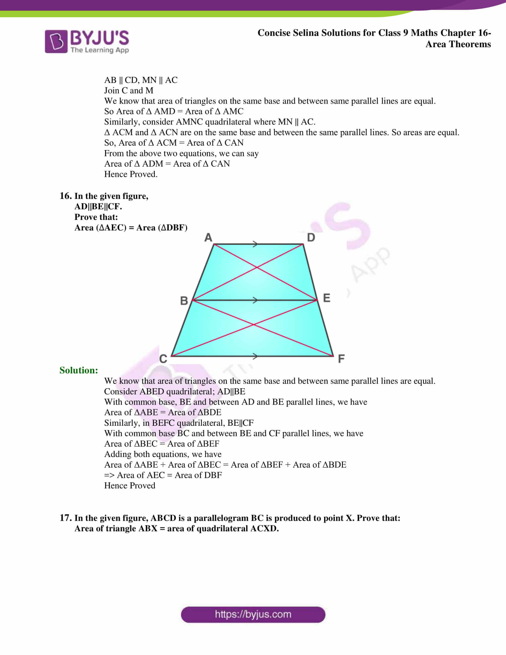 Concise Selina Solutions Class 9 Maths Chapter 16 Area Theorems part 13