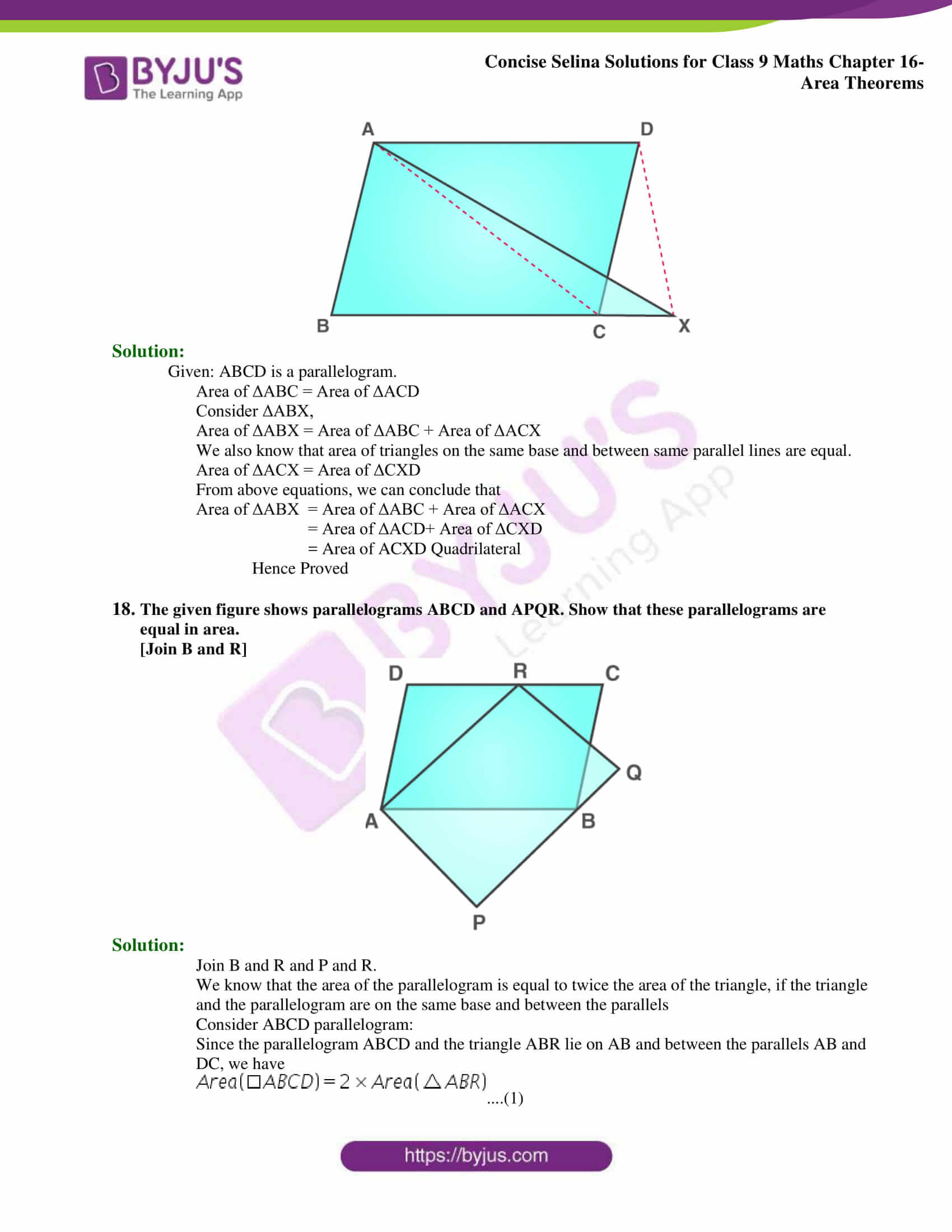 Concise Selina Solutions Class 9 Maths Chapter 16 Area Theorems part 14
