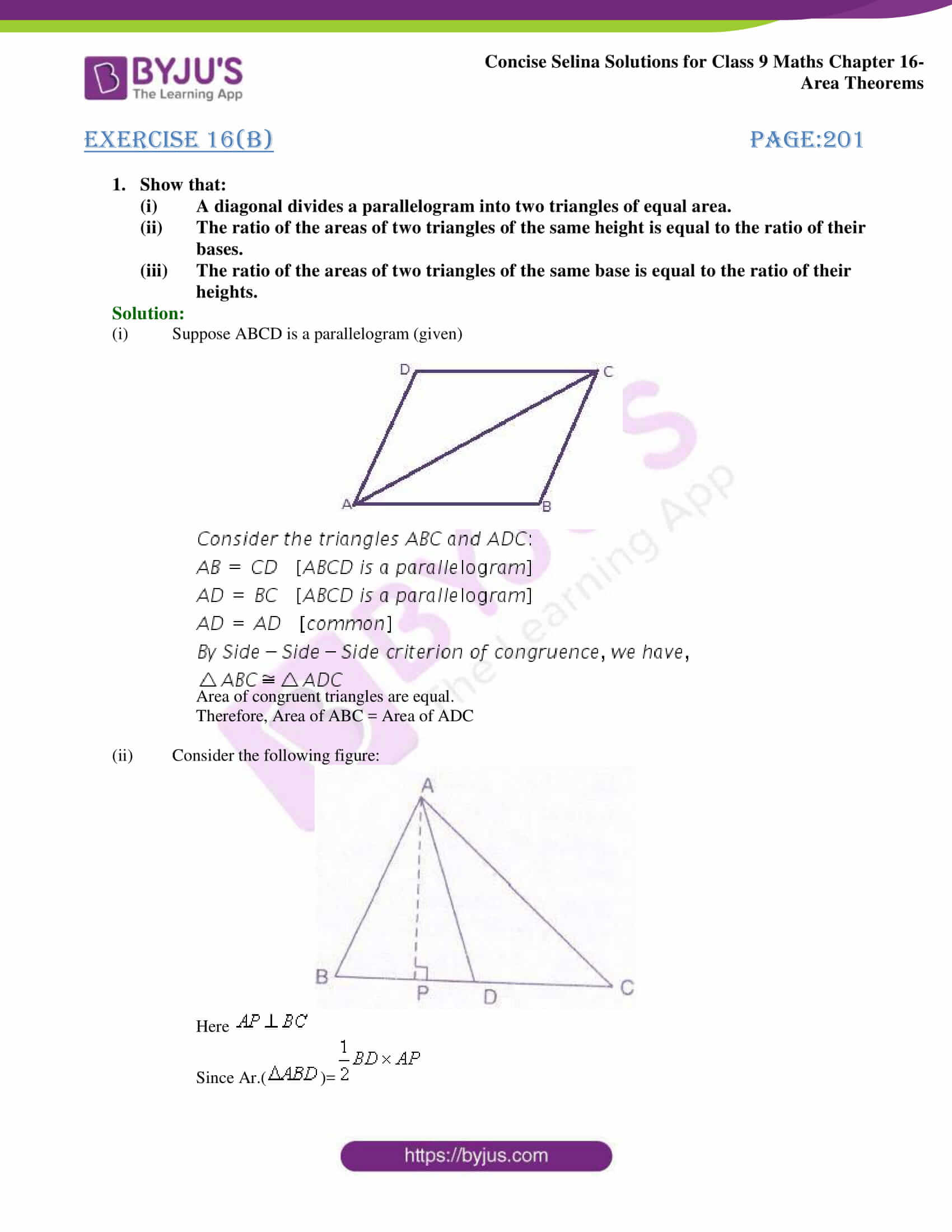 Concise Selina Solutions Class 9 Maths Chapter 16 Area Theorems part 16